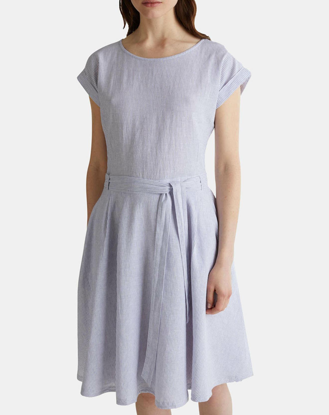 Robe en Lin & Coton rayée bleu/blanc - Esprit - Modalova