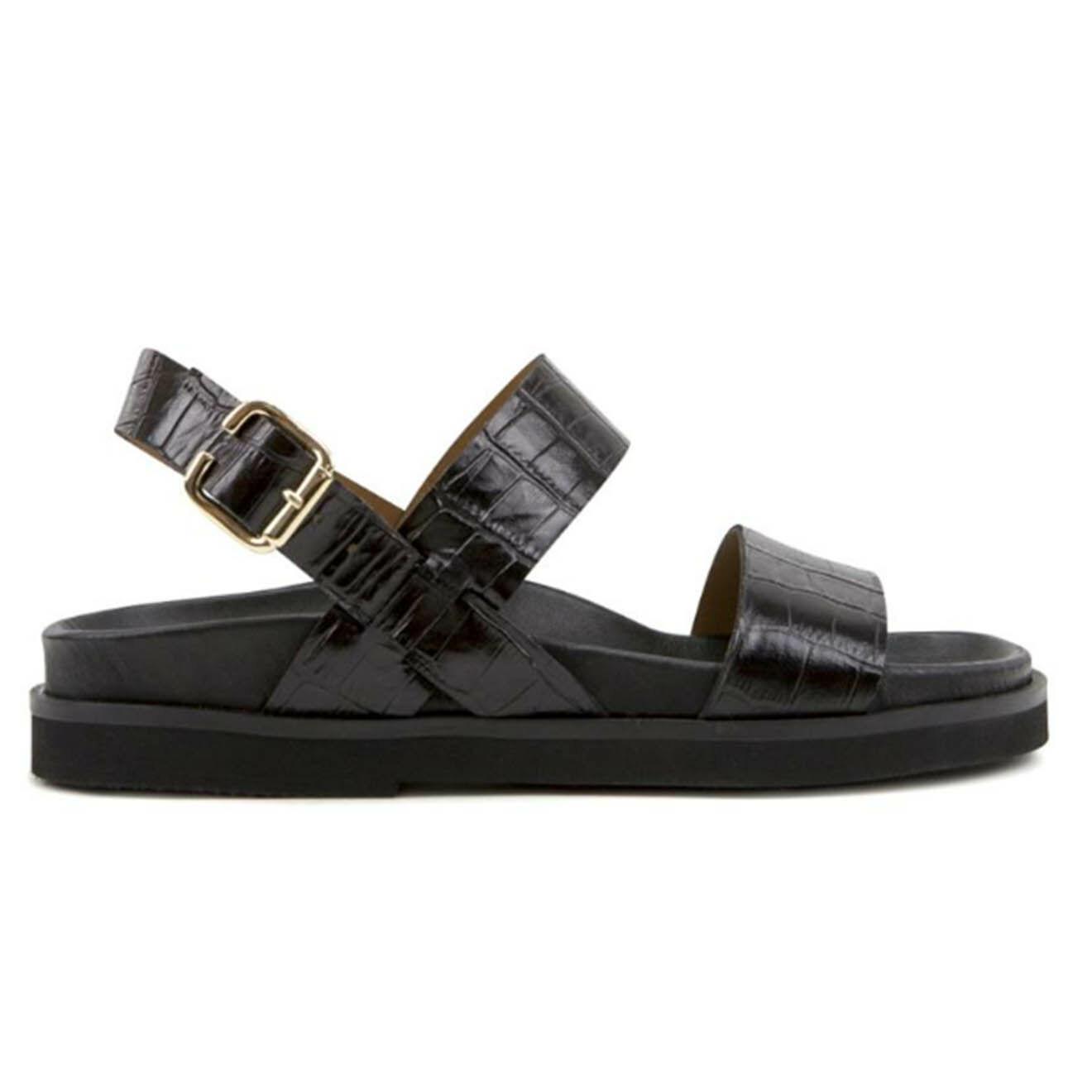 Sandales en Cuir croco Elisée noires - Anaki - Modalova
