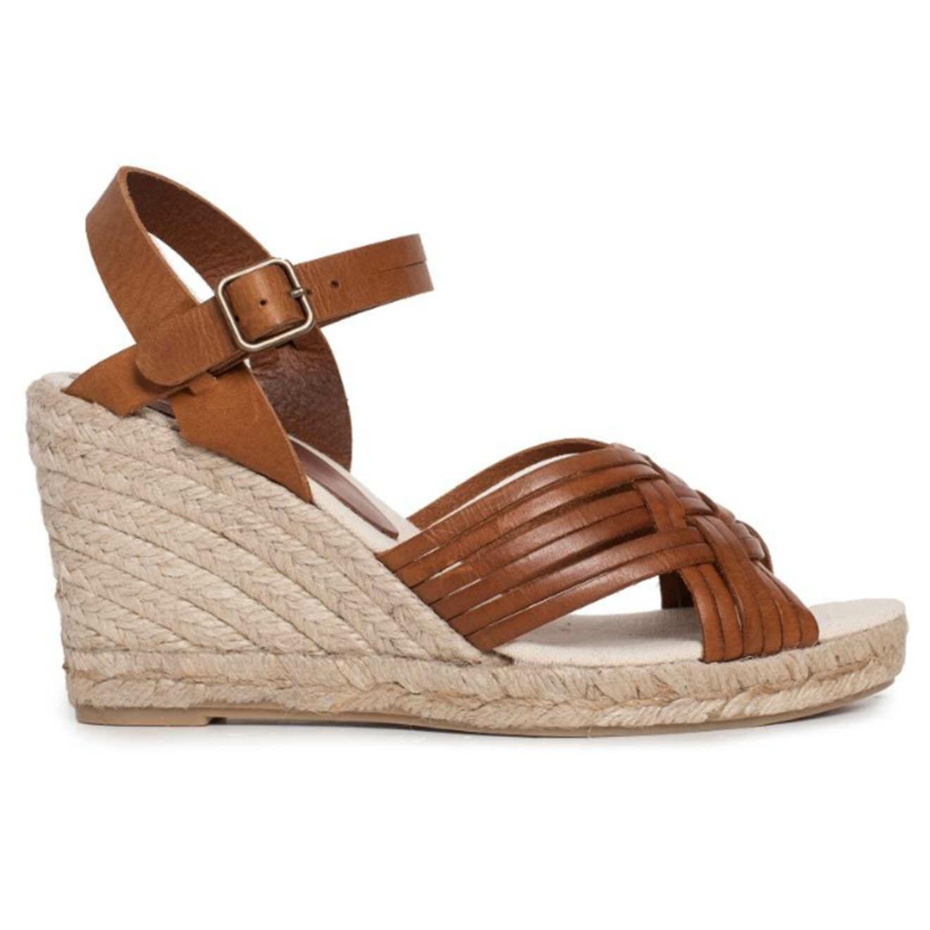 Sandales compensées en Cuir Paloa brandy - Talon 9 cm - Anaki - Modalova