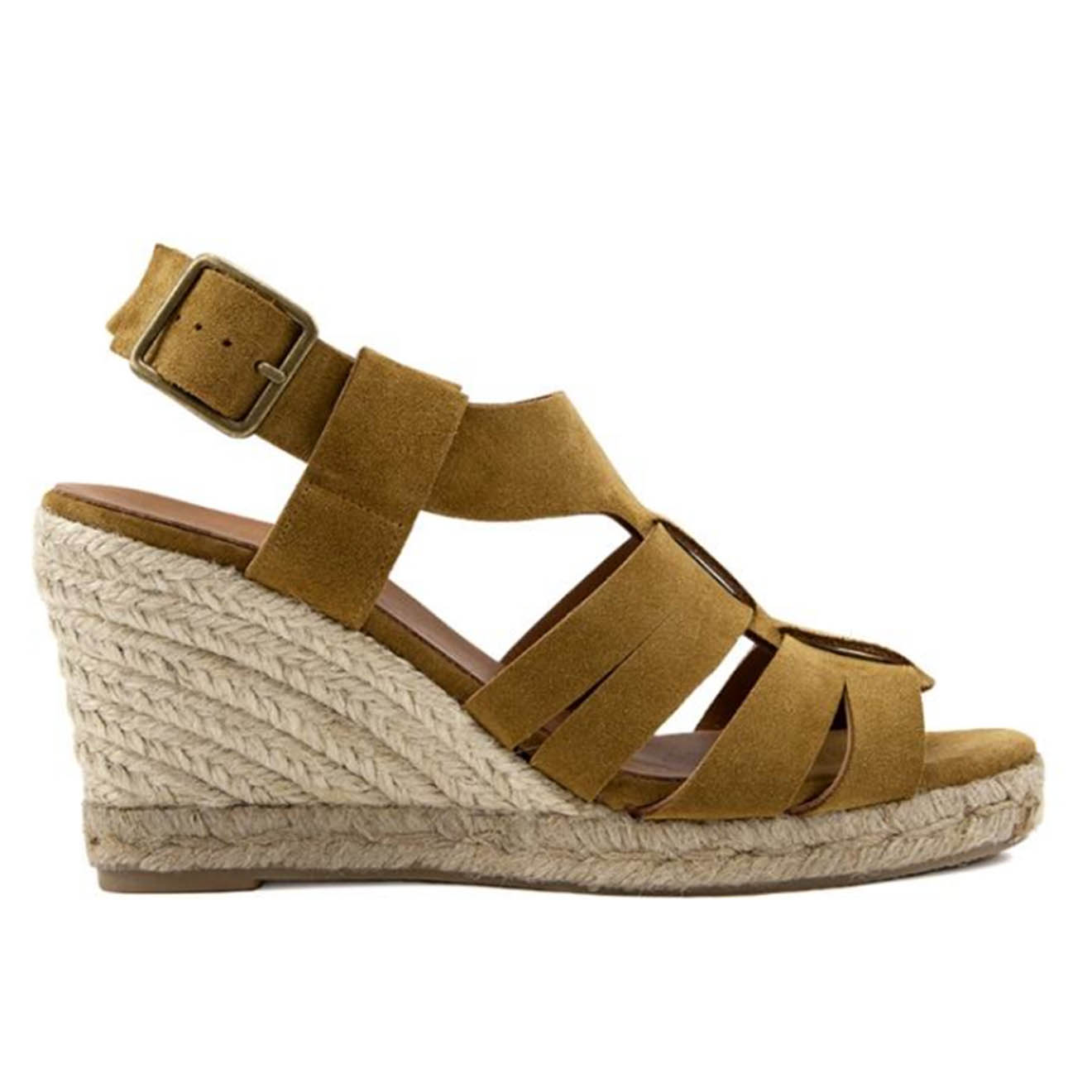 Sandales compensées en Velours de Cuir Sybille tabac - Talon 9 cm - Anaki - Modalova