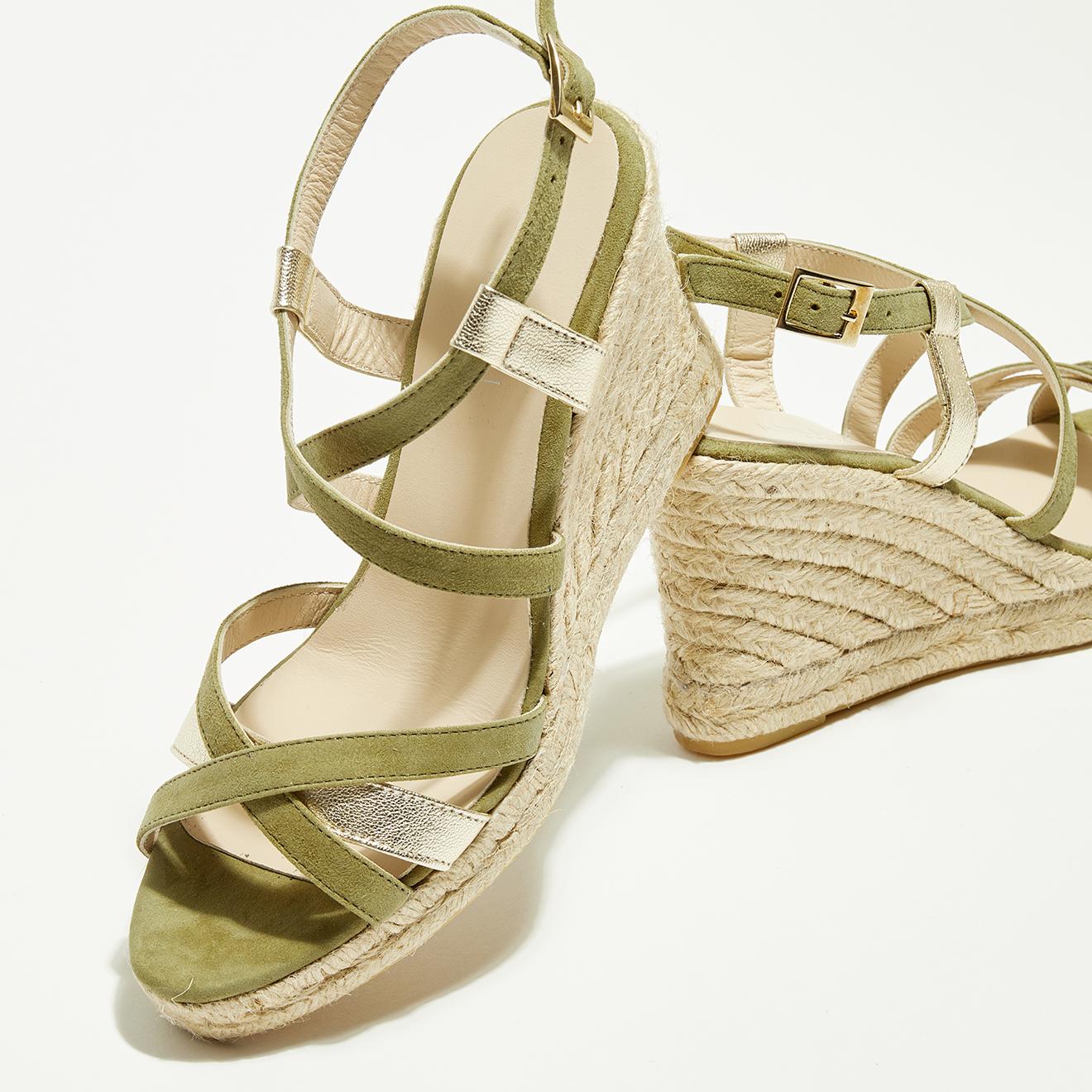 Sandales compensées en Velours de Cuir Anette kaki - Talon 7 cm - Anaki - Modalova