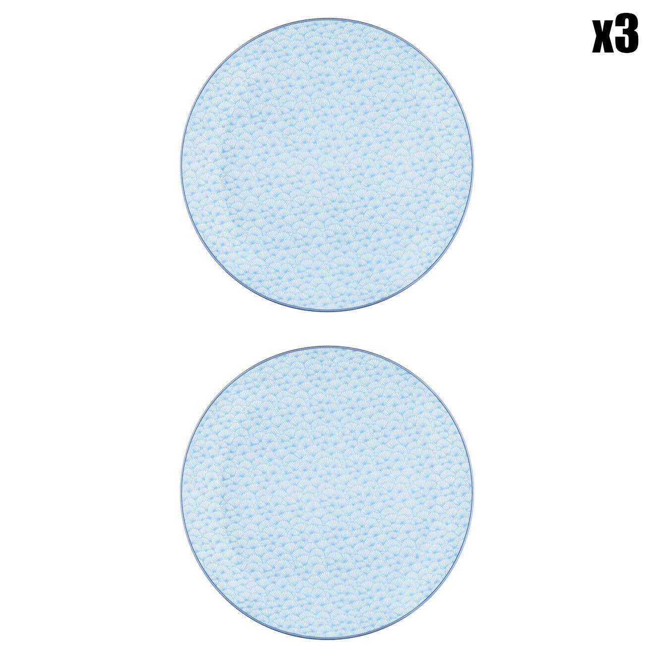 6 Assiettes plates Pastel rose pastel/bleu pastel/vert pastel - D.26 cm