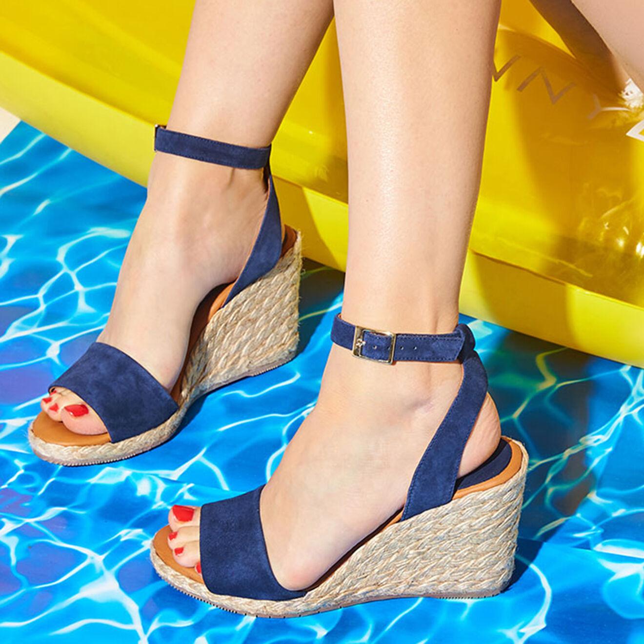 Sandales compensées en Velours de Cuir Colini - Talon 9 cm - Cosmoparis - Modalova