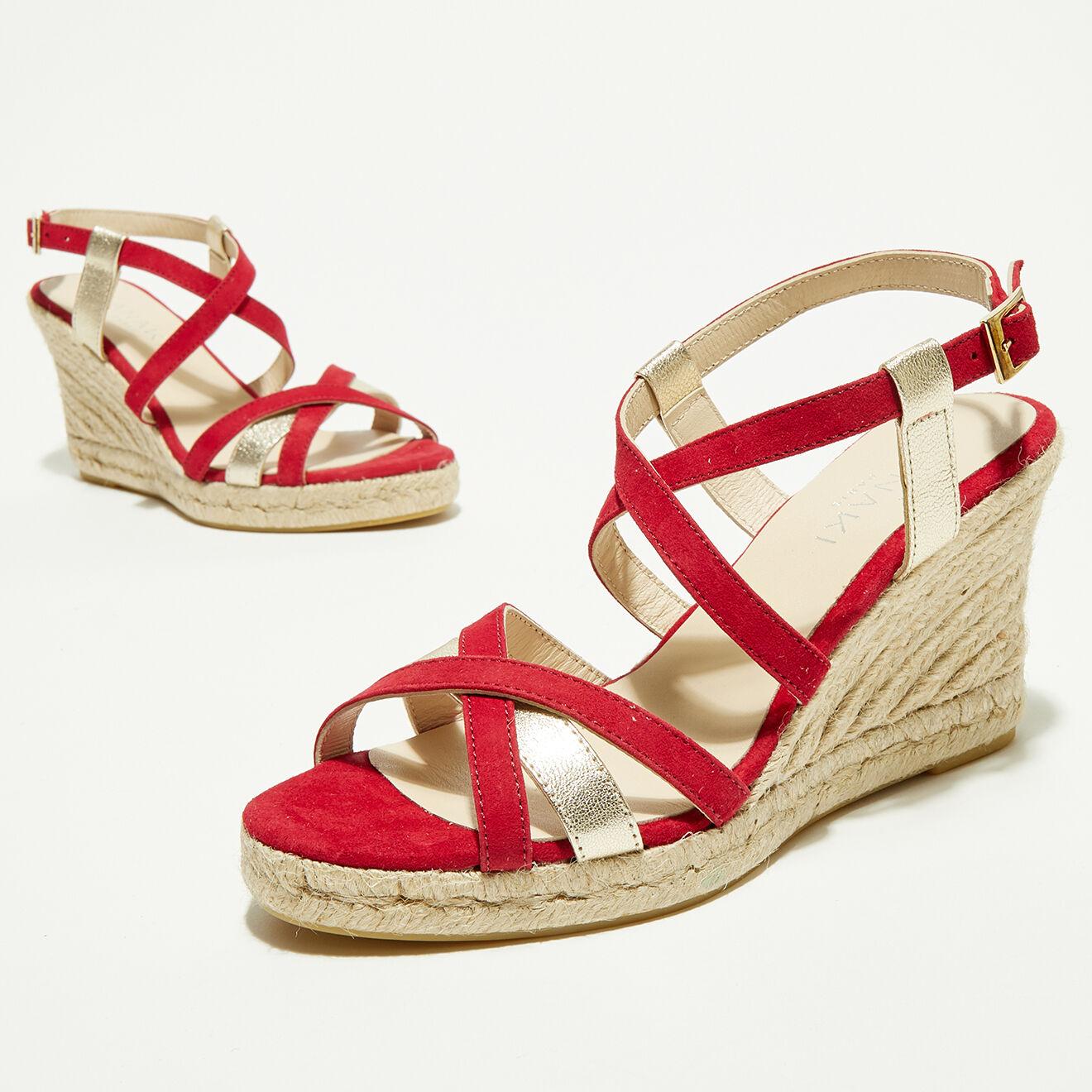 Sandales compensées en Velours de Cuir Anette rouges - Talon 7 cm - Anaki - Modalova