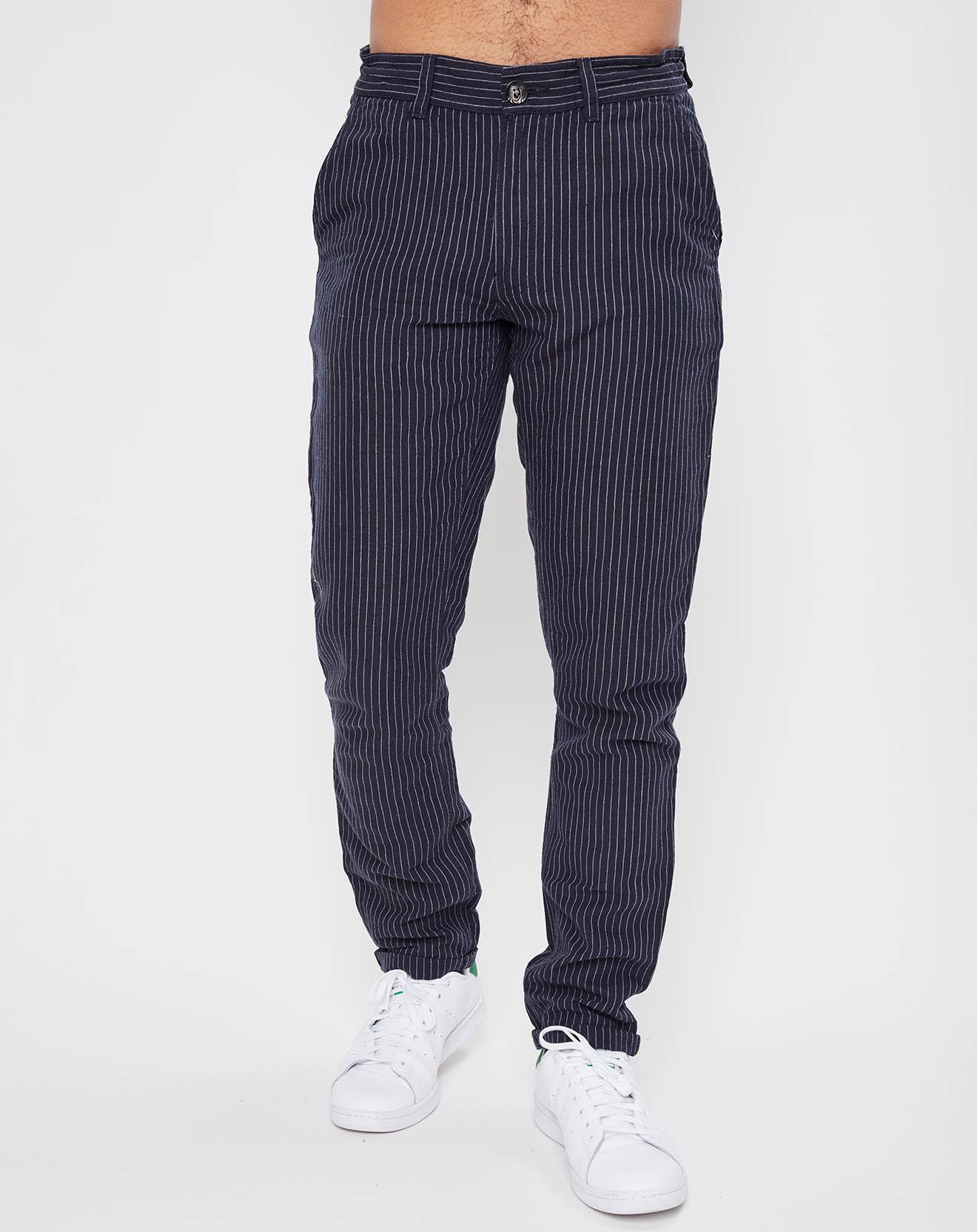 Pantalon en Lin & Coton Wyll rayé bleu foncé - Teddy Smith - Modalova
