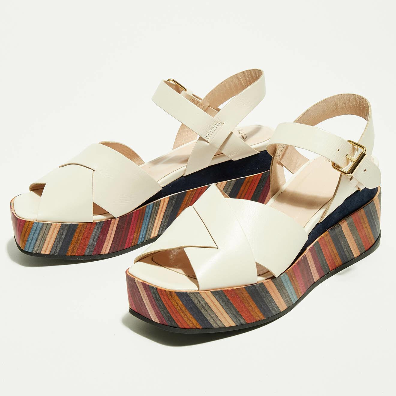 Sandales Compensées en Cuir Marcia beige/multicolore - Talon 6 cm - Paul Smith - Modalova