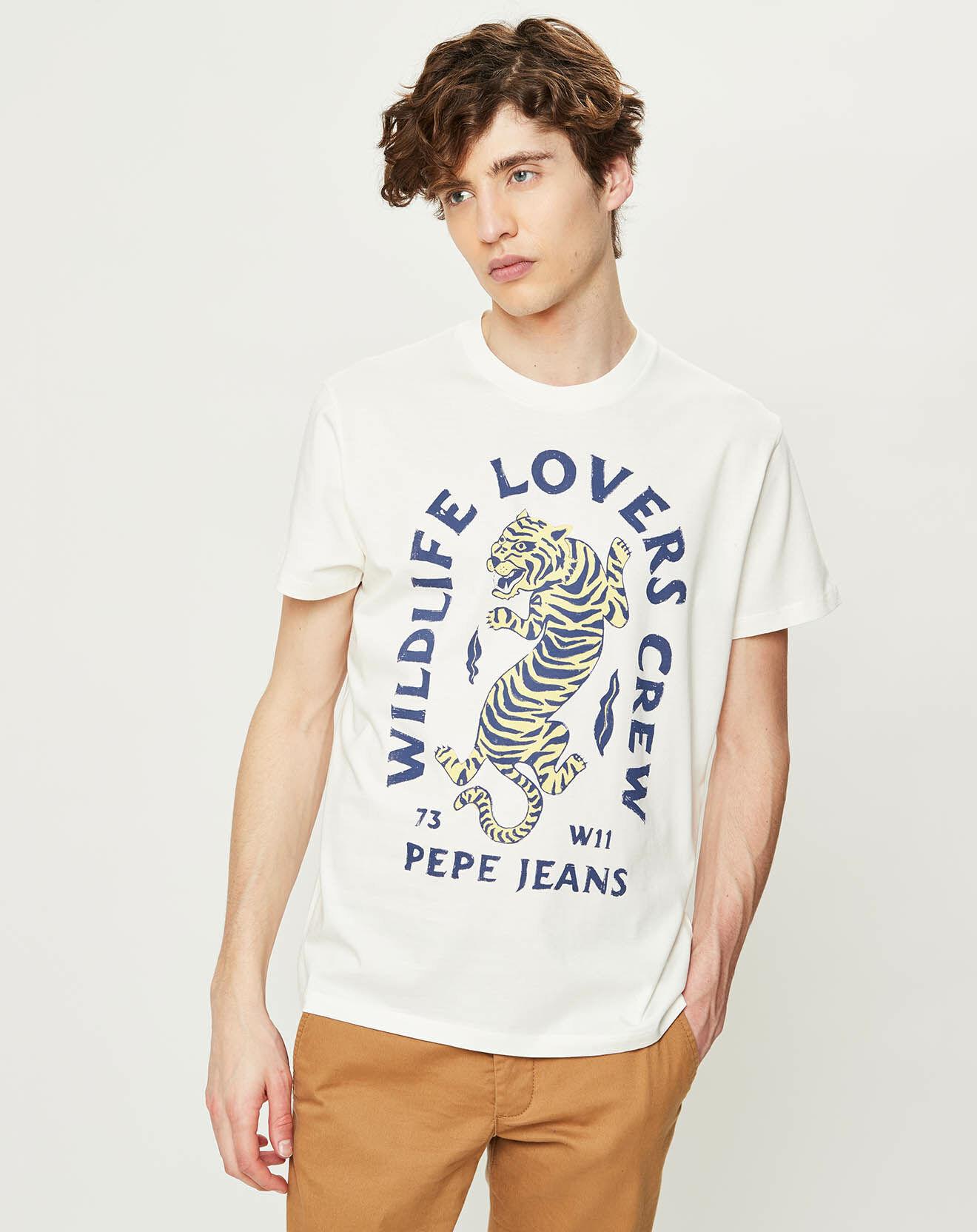 T-Shirt Jett Tiger blanc - Pepe Jeans - Modalova