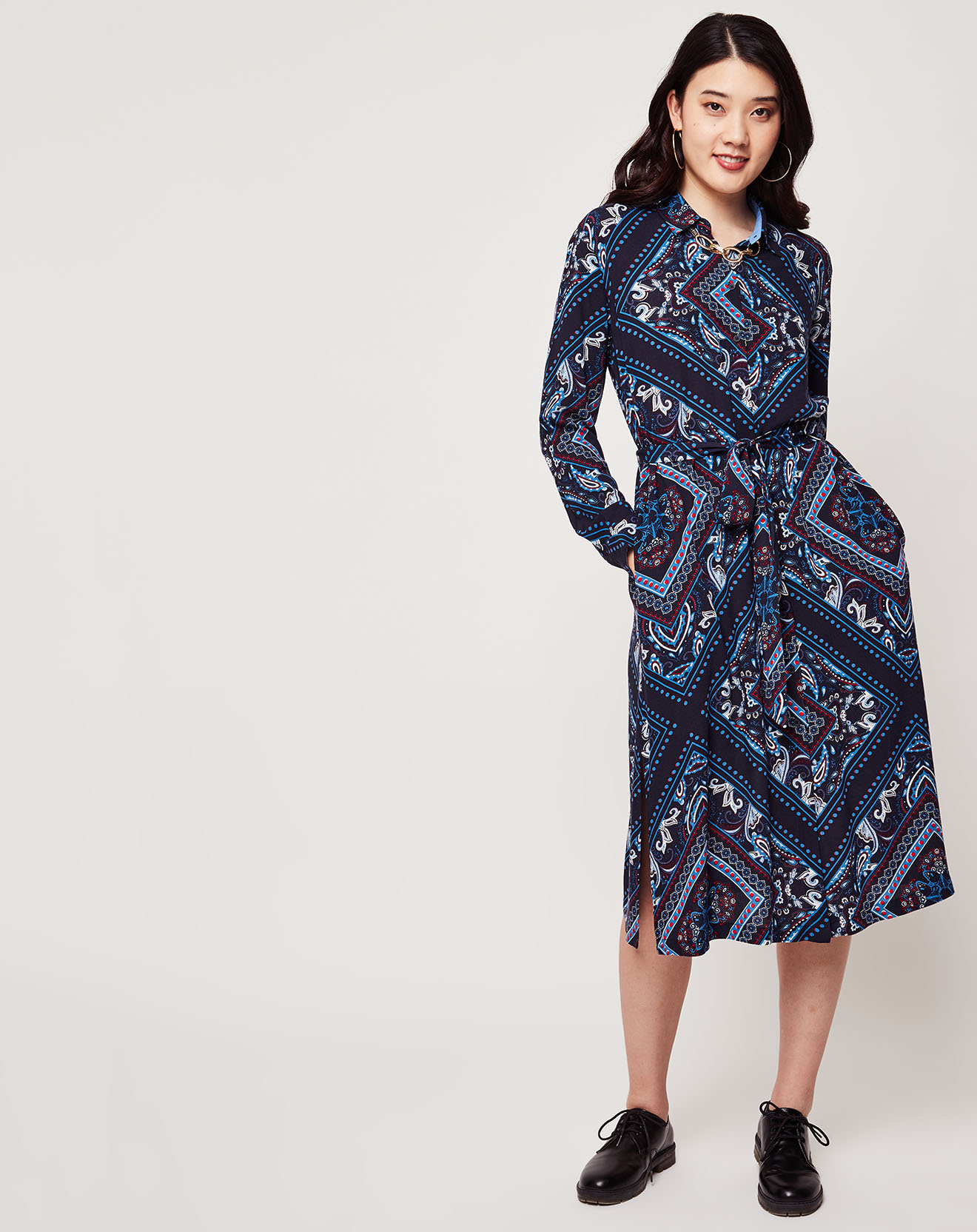 Robe imprimée cachemire bleu marine - Esprit - Modalova