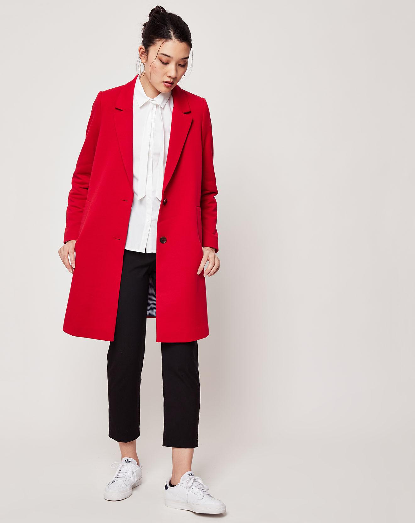 Manteau droit Jersey rouge - Esprit - Modalova