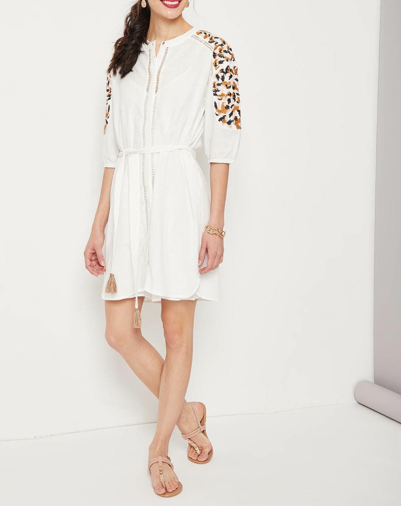 Robe Chataigne brodée blanc cassé - Suncoo - Modalova