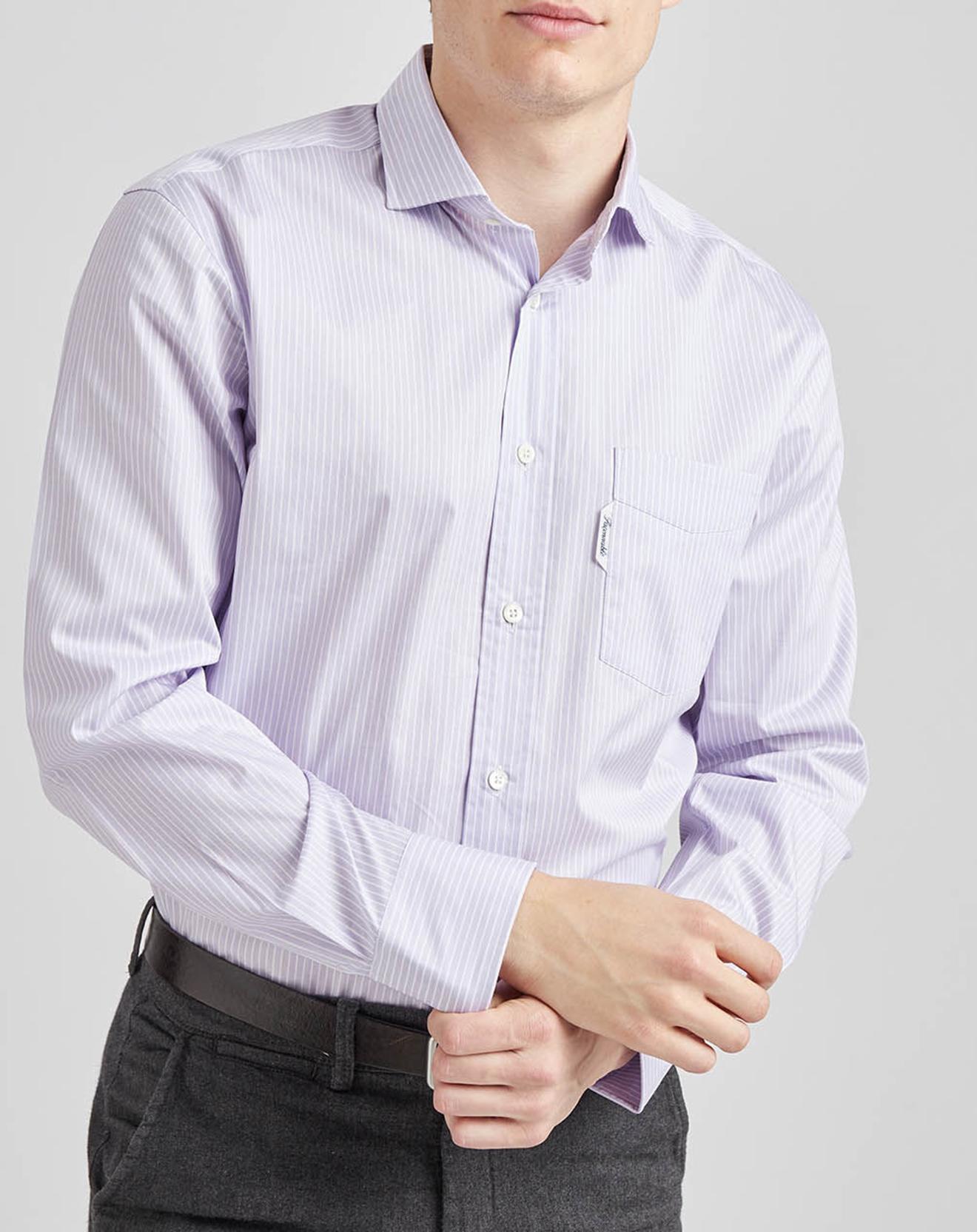 Chemise droite rayée violette - Façonnable - Modalova