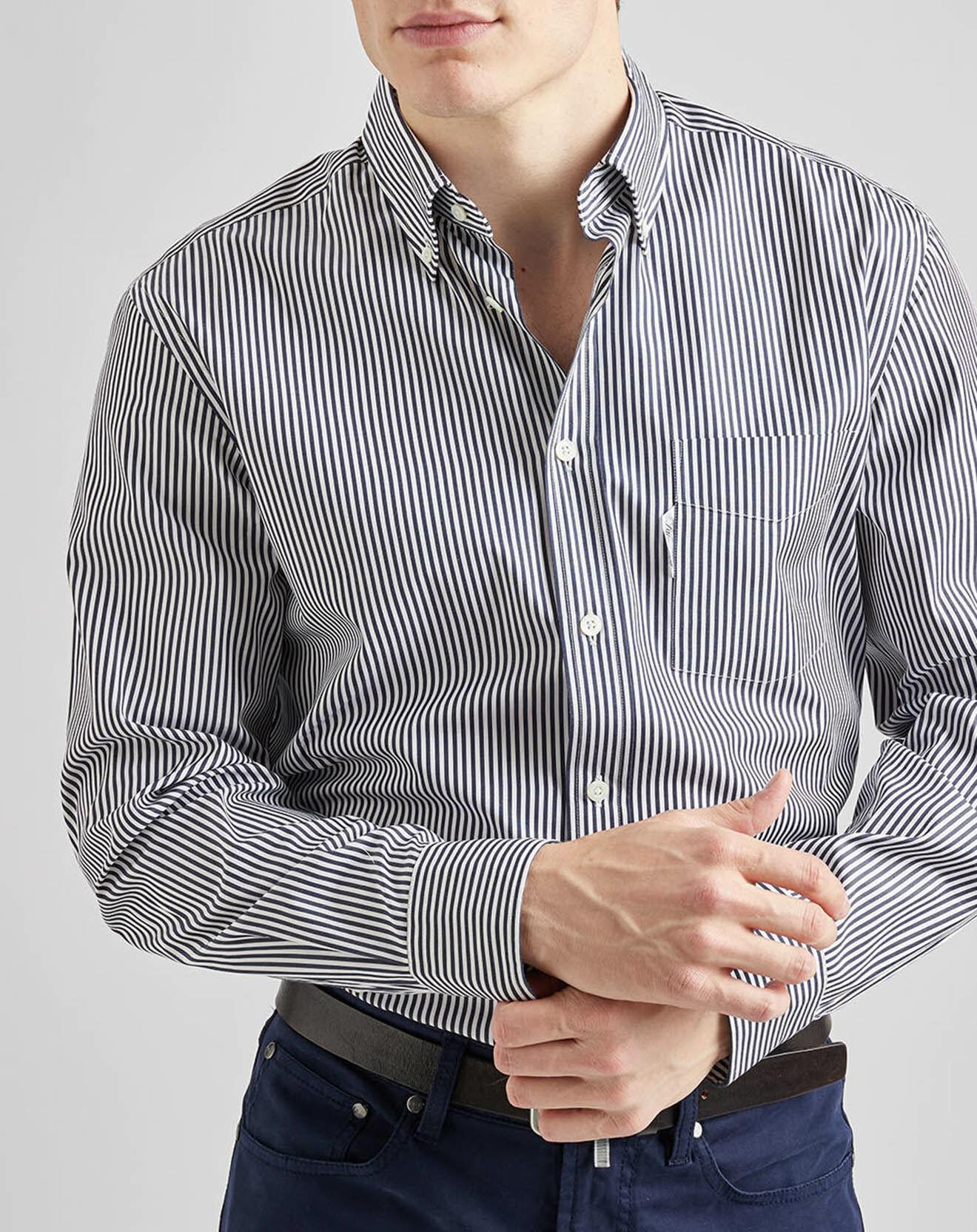 Chemise casual rayures bleu nuit/blanc - Façonnable - Modalova