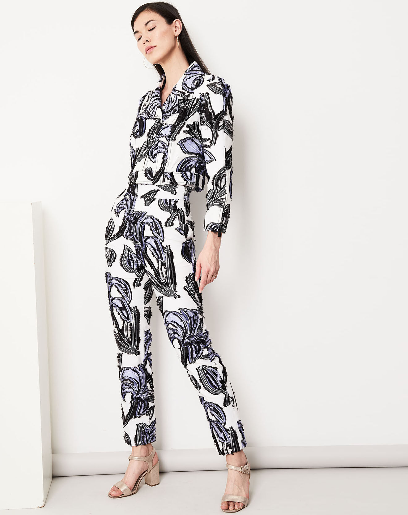 Pantalon Cléa à motifs blanc/lavande/noir - Paule ka - Modalova