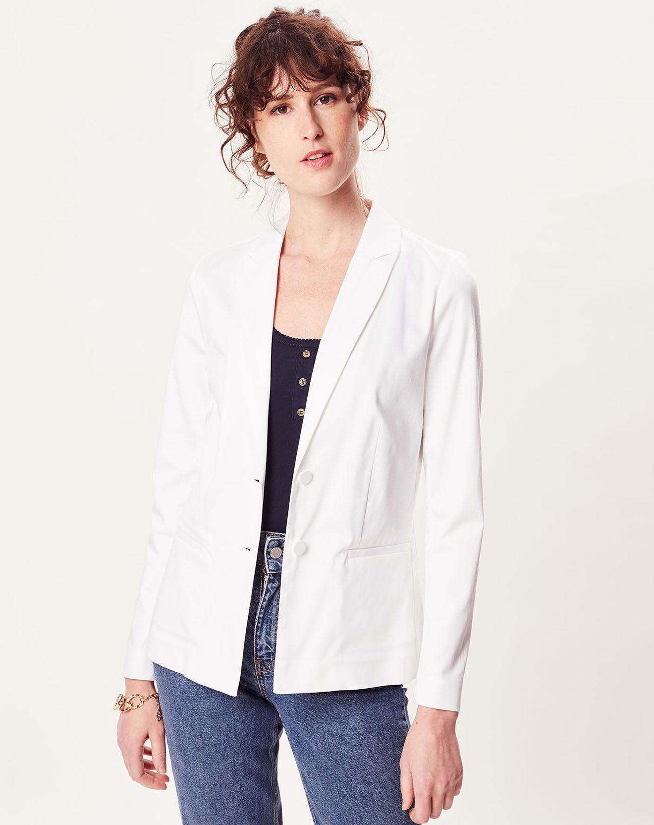 Veste tailleur E-Facile blanche - Naf Naf - Modalova