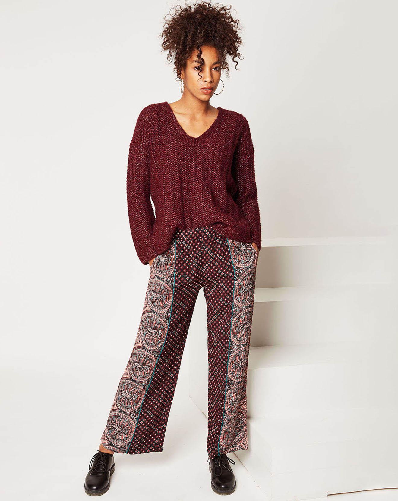 Pantalon fluide Inès à motif bordeaux - Stella Forest - Modalova