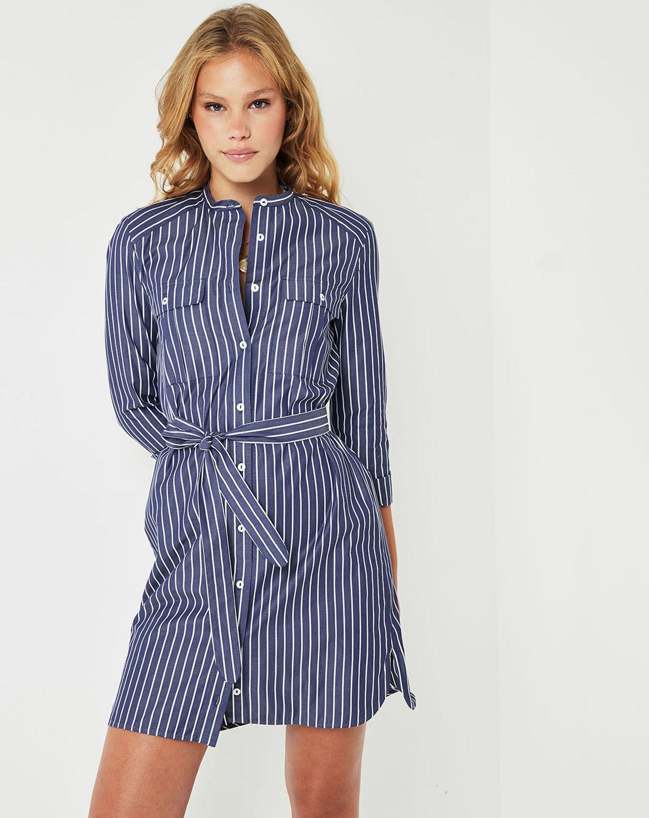Robe Ginette à rayures bleu marine/blanc - Cuisse de Grenouille - Modalova