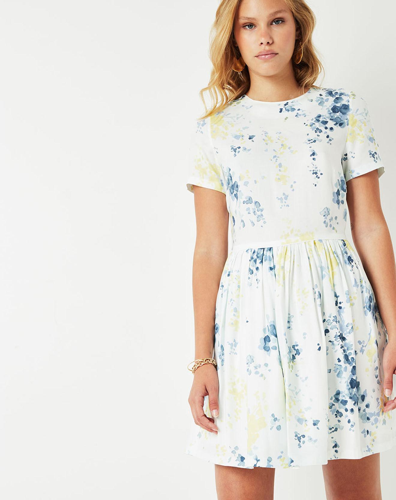 Robe Calme fleurie écru/bleu/jaune - Cuisse de Grenouille - Modalova