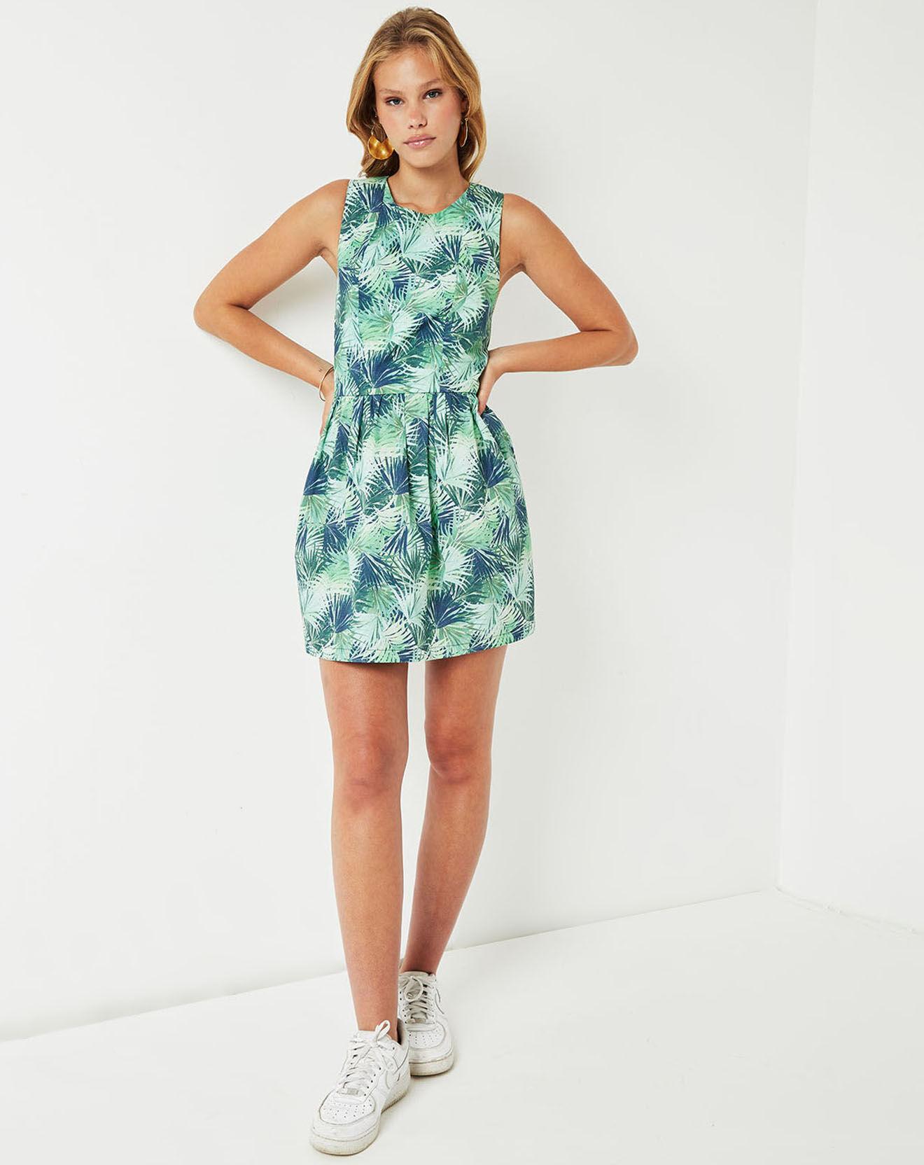 Robe Ebene imprimée bleu marine/vert - Cuisse de Grenouille - Modalova