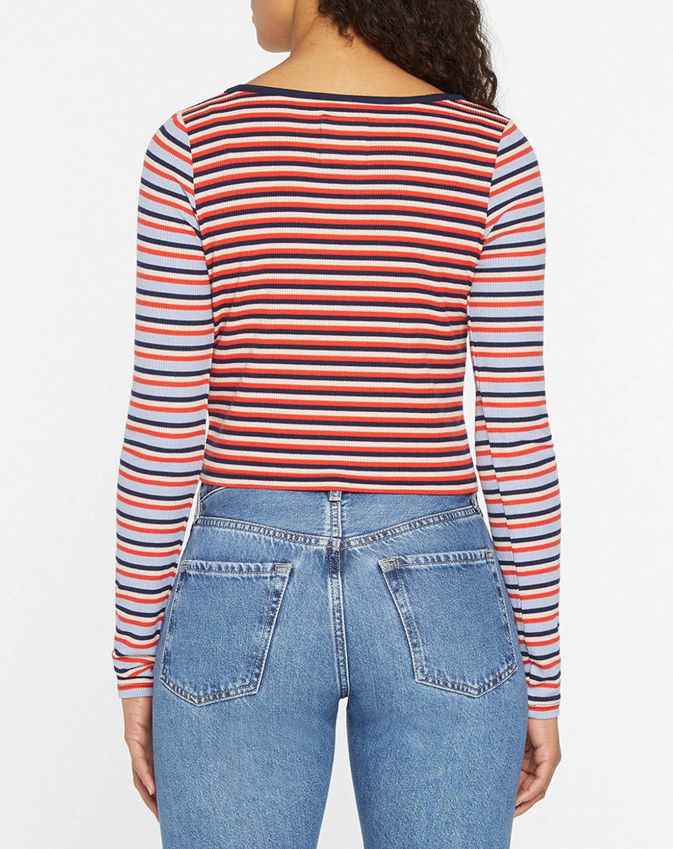 T-Shirt crop rayé multicolore - Pepe Jeans - Modalova