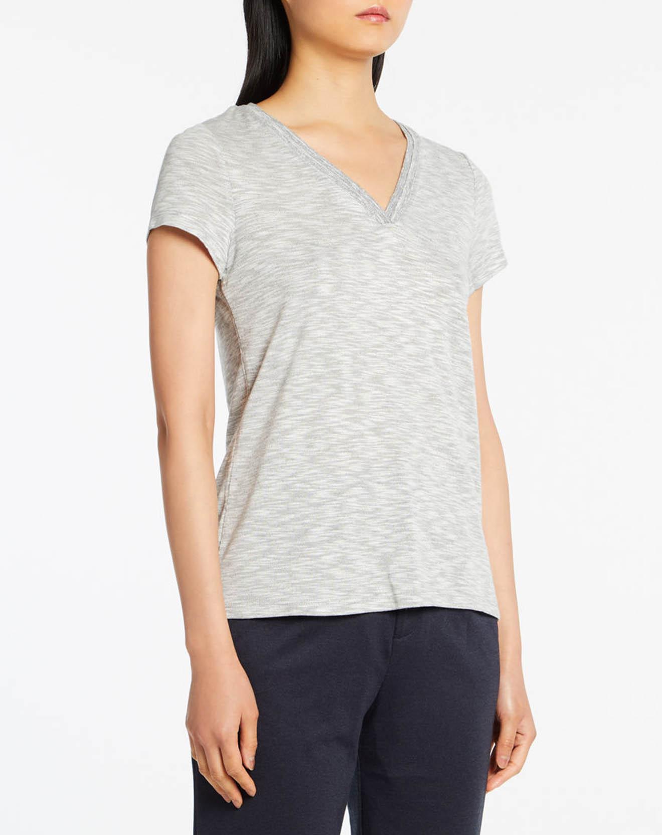 T-Shirt col V Lurex gris - Esprit - Modalova