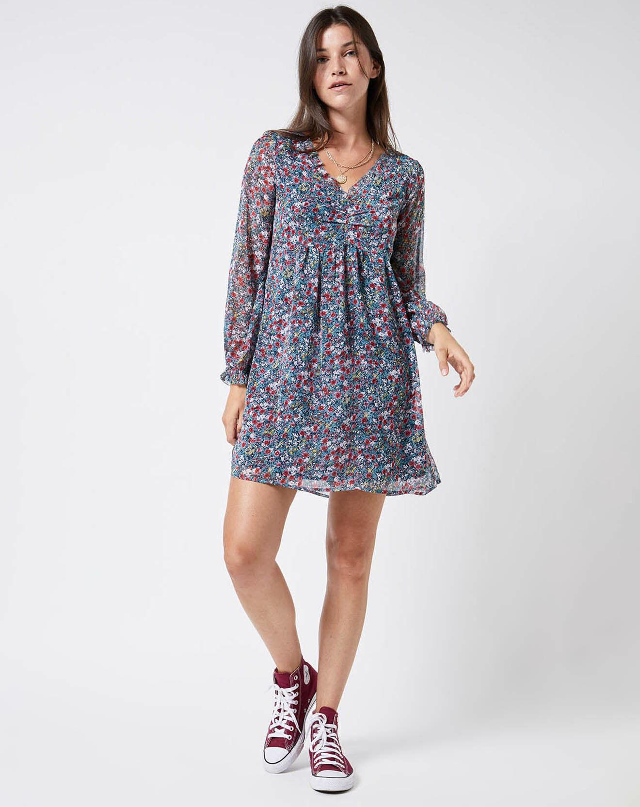 Robe Courte à Fleurs multicolore - Pepe Jeans - Modalova
