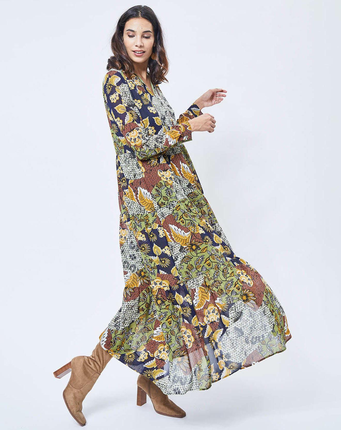 Robe longue imprimée Jungle vert/multicolore - Esprit - Modalova