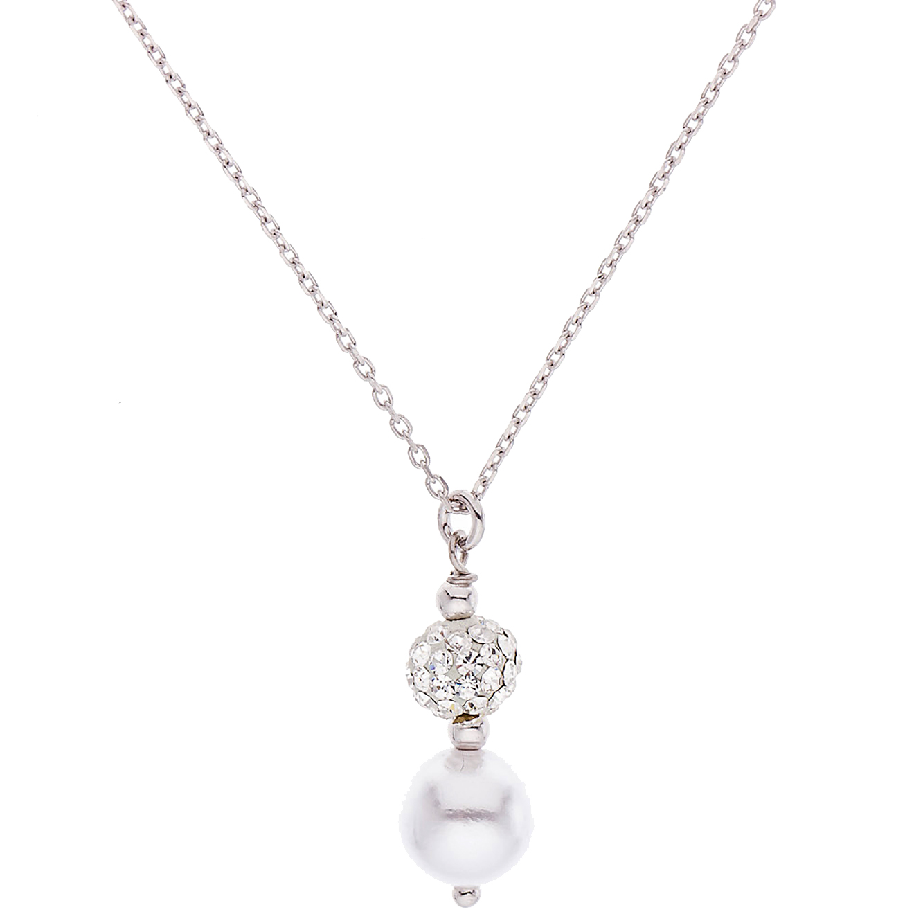 Collier Collbowl Argent Cristal & Perle blanche