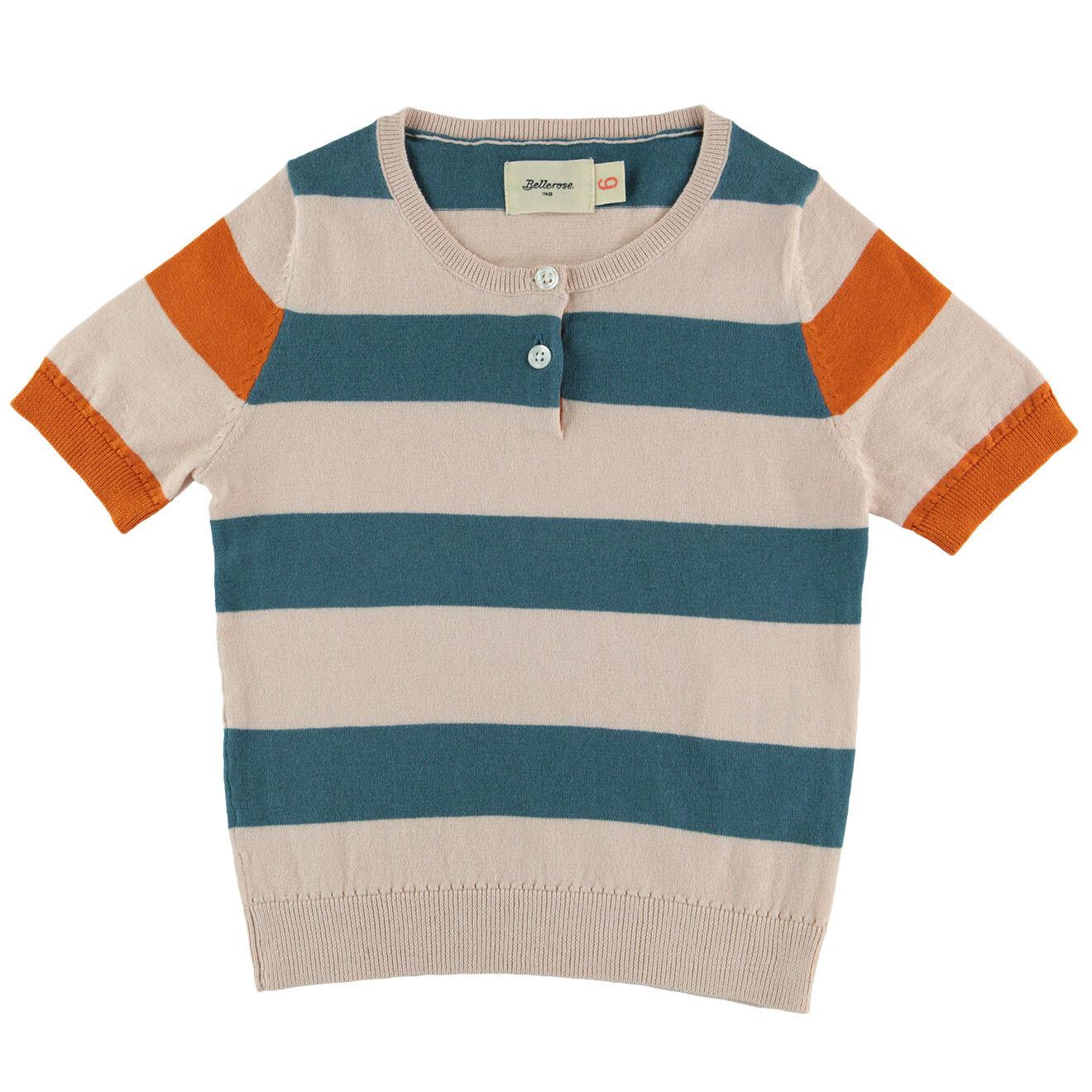 Pull en coton & laine calice ray� rose & vert
