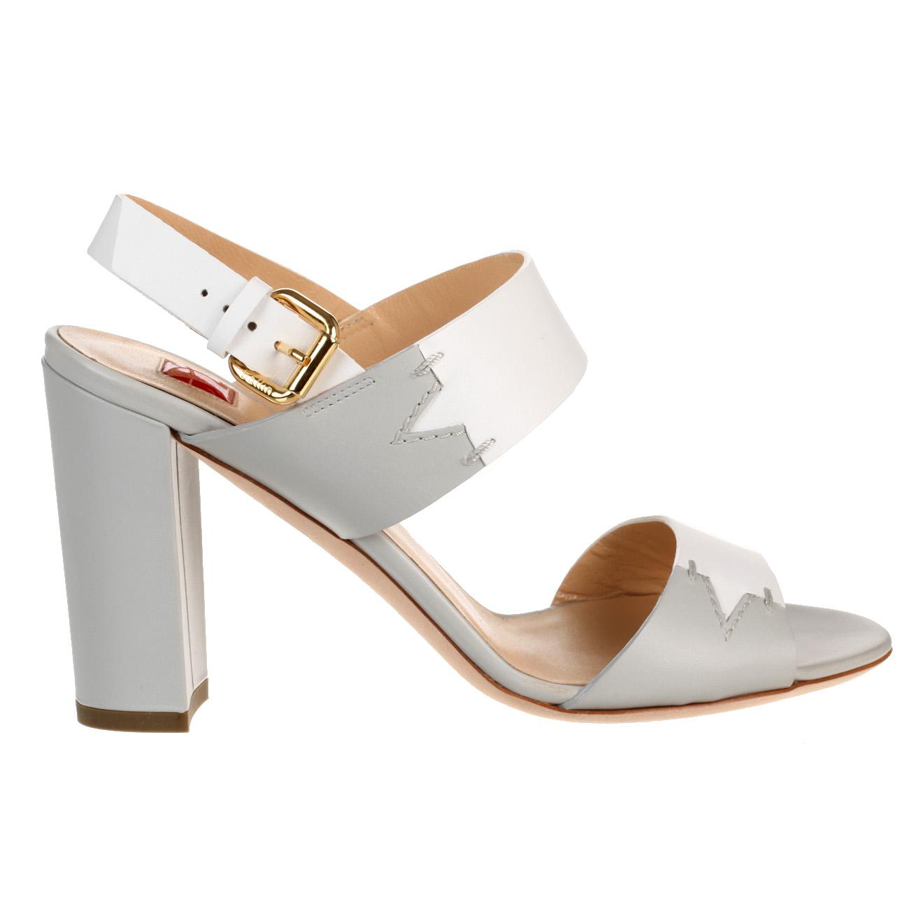 Sandales en Cuir blanc/gris - Talon 9 cm - Ballin - Modalova