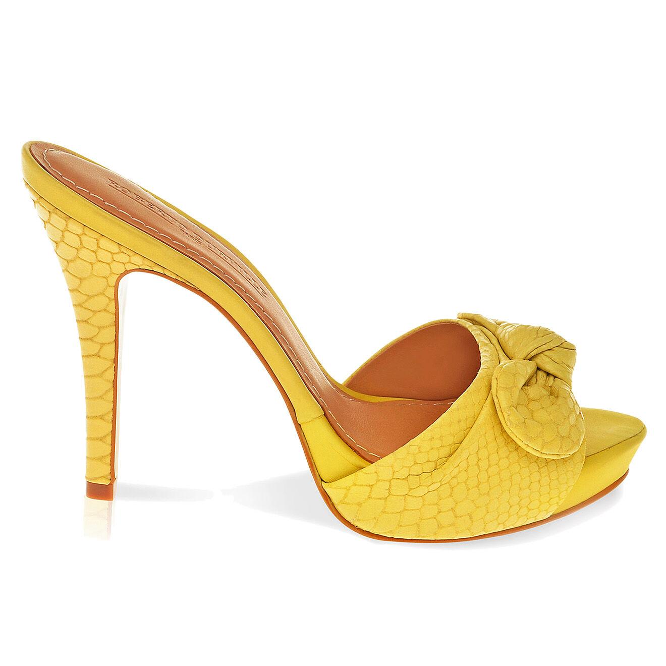 Sandales en Cuir Justine jaunes Talon 9.5 cm