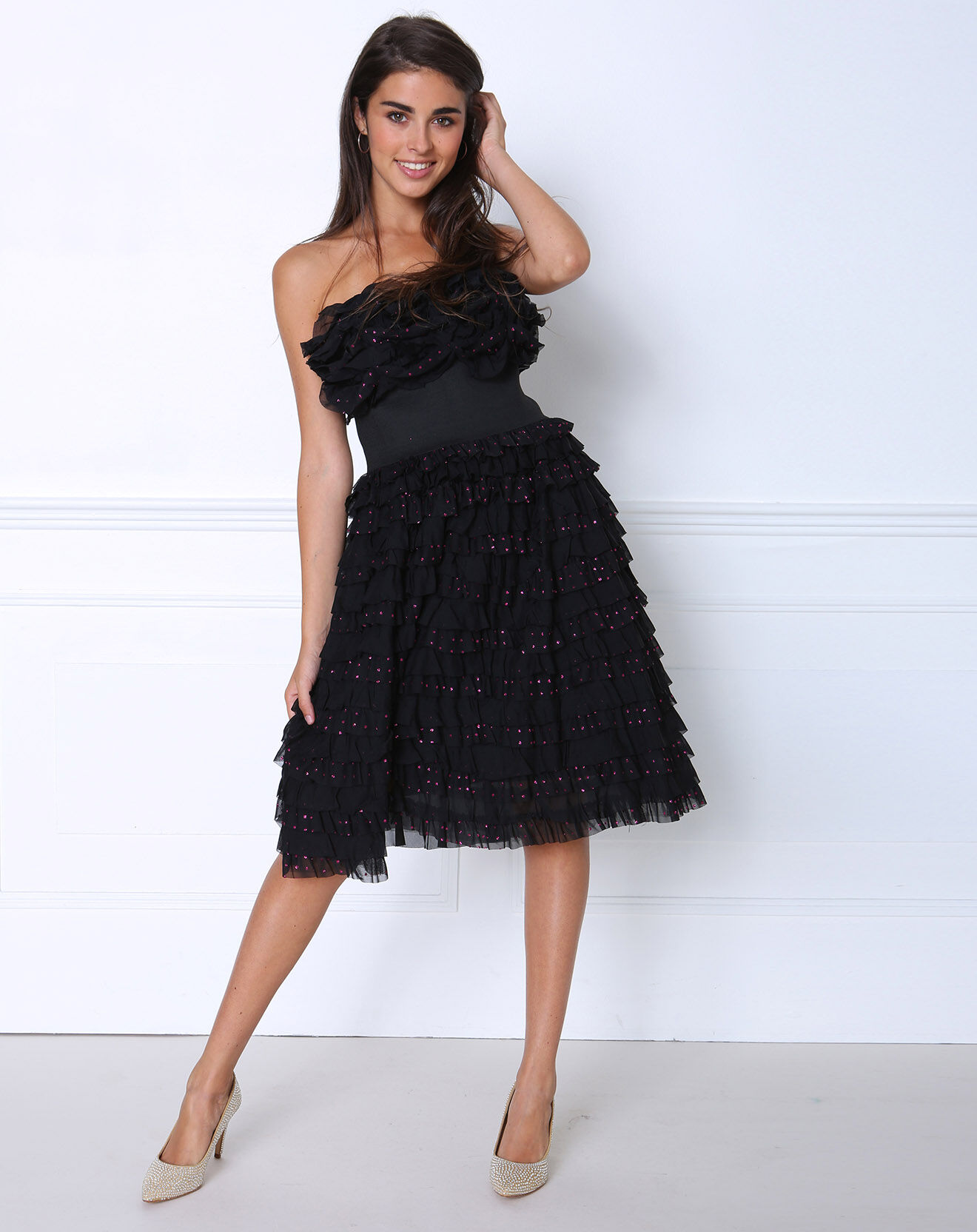 manoush robe bustier en soie betty noir pois rose ebay. Black Bedroom Furniture Sets. Home Design Ideas