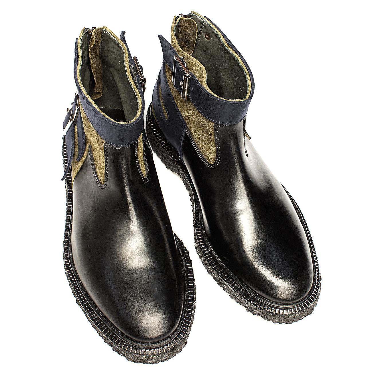 Boots en Cuir et Velours de Cuir Type 16 vert/marine - Adieu - Modalova