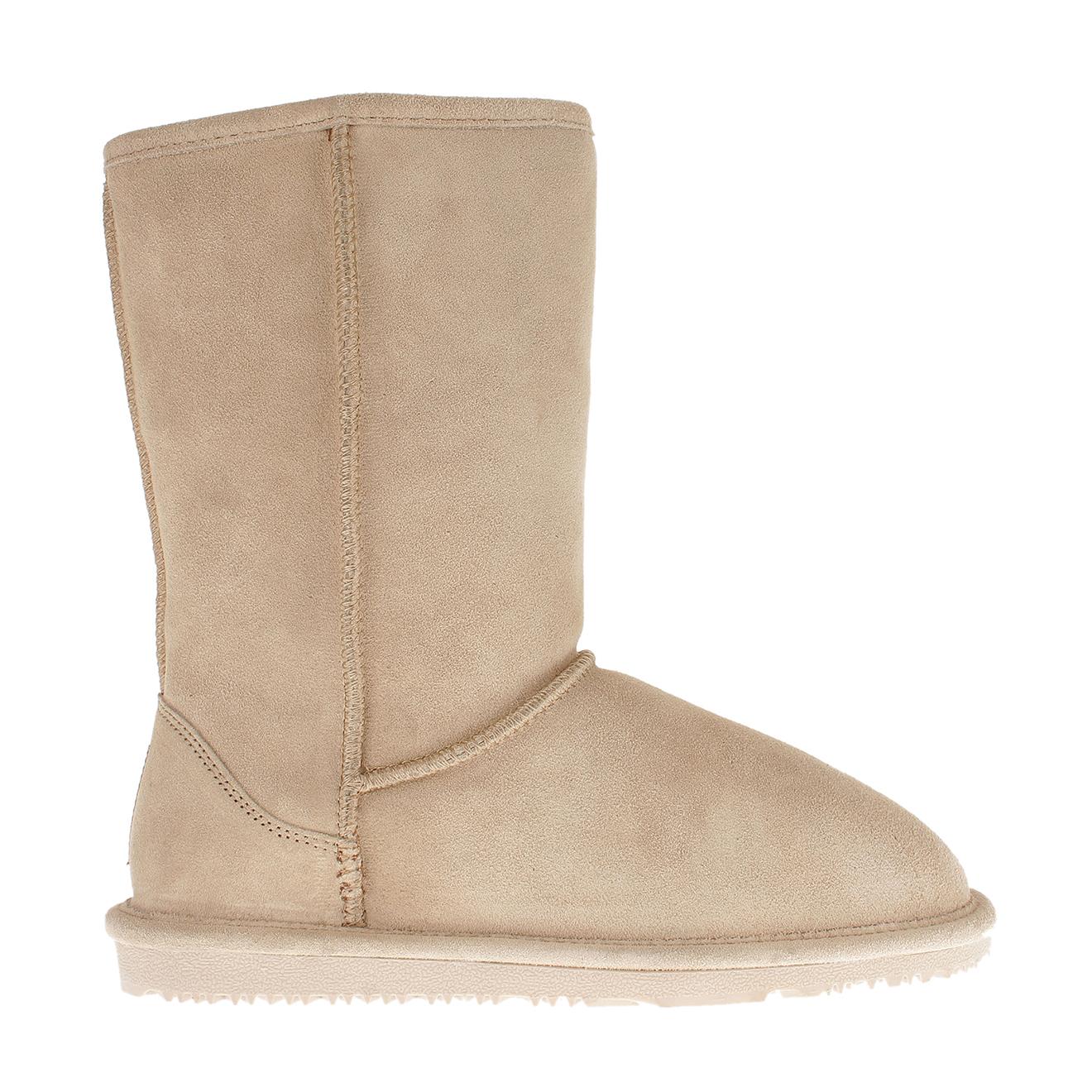 Boots fourrées en Velours de Cuir Ethel sable