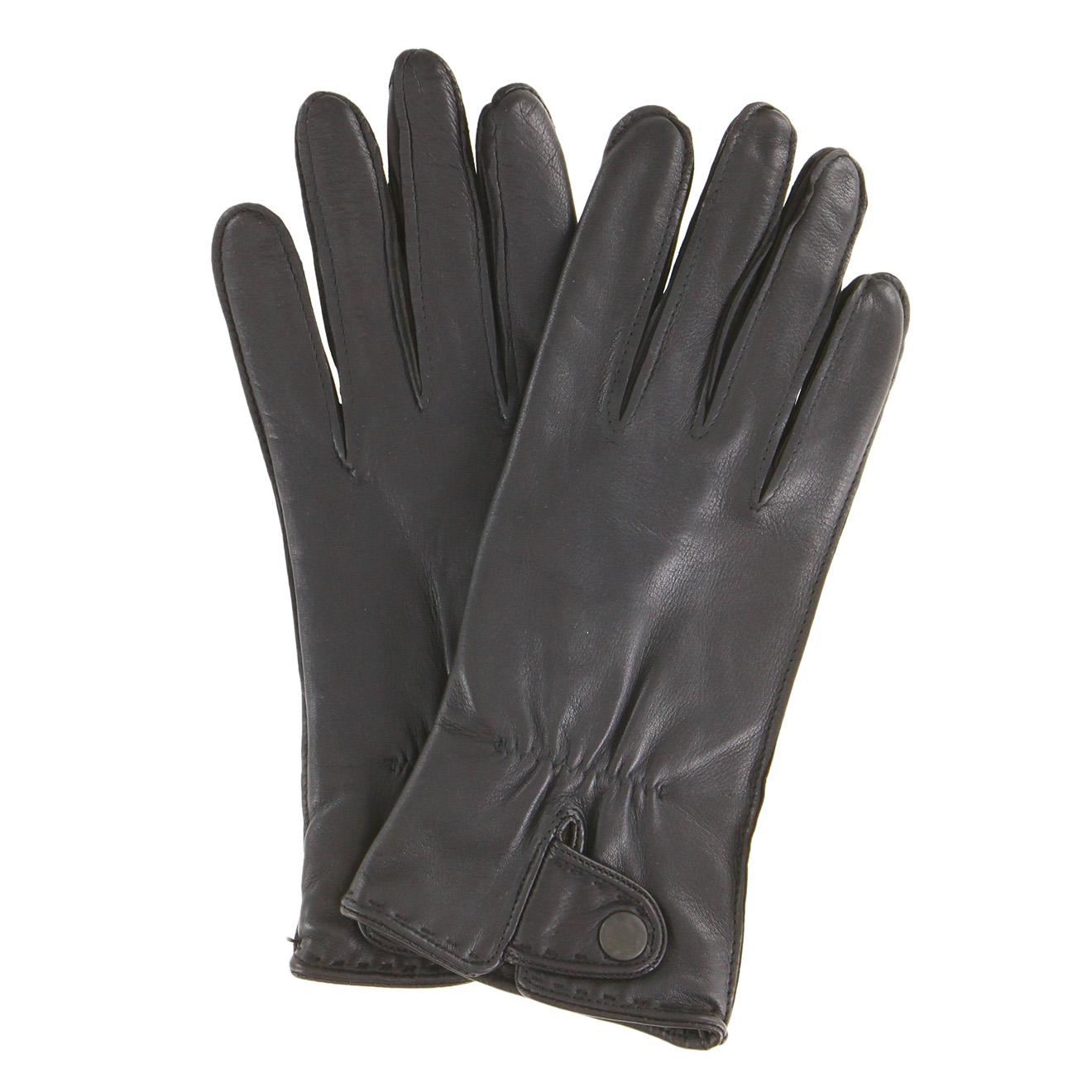 Gants en Cuir de Cerf doublure Textile noirs