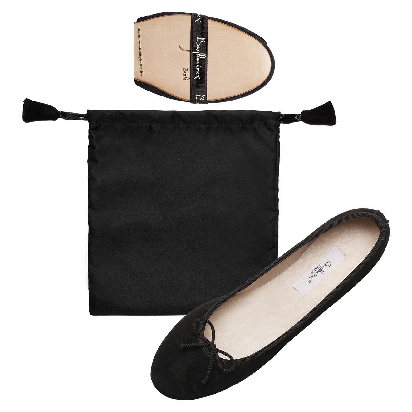 Ballerines Pliables en Velours de Cuir Couture Spicy noires