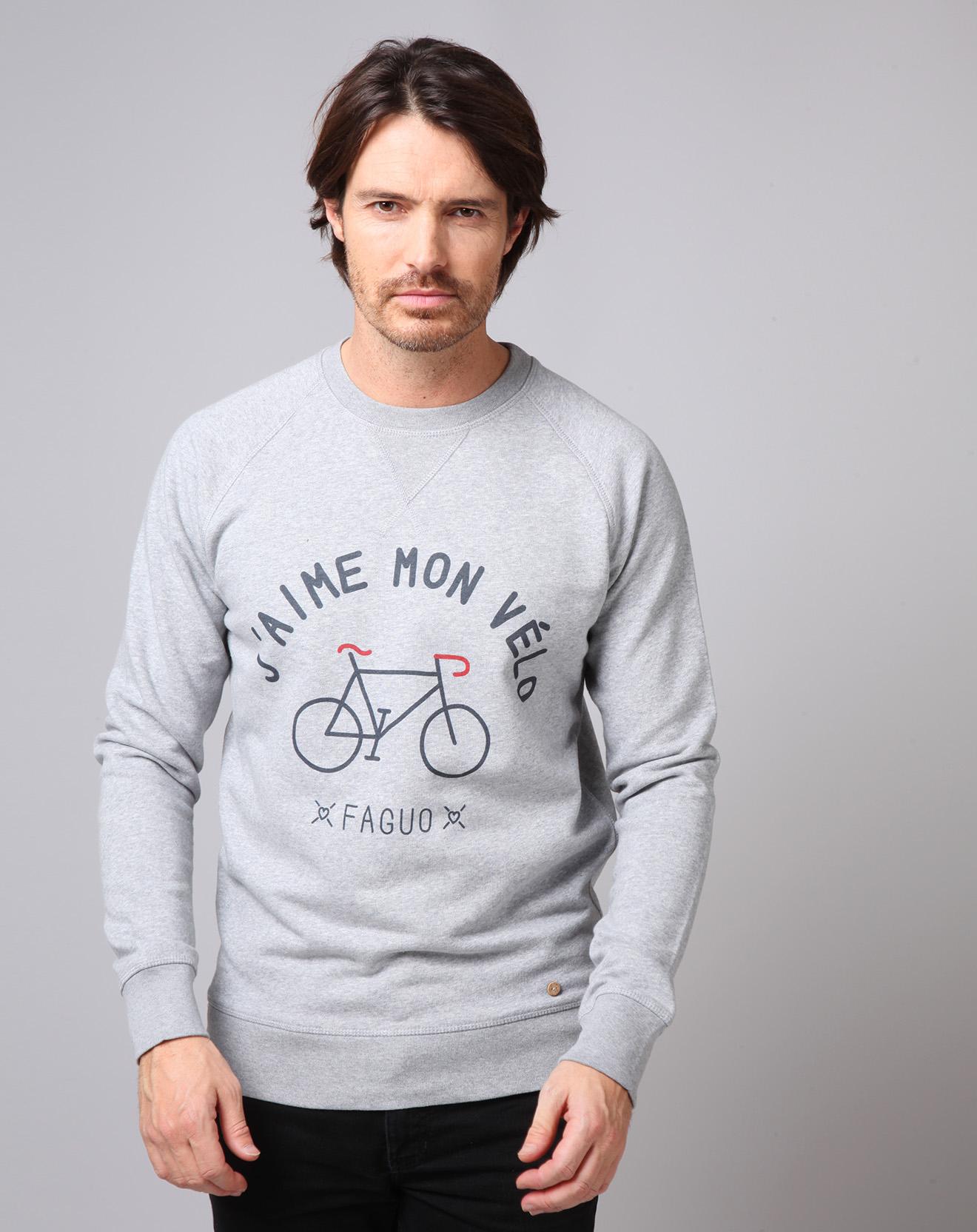 Sweat J'aime Mon Vélo gris