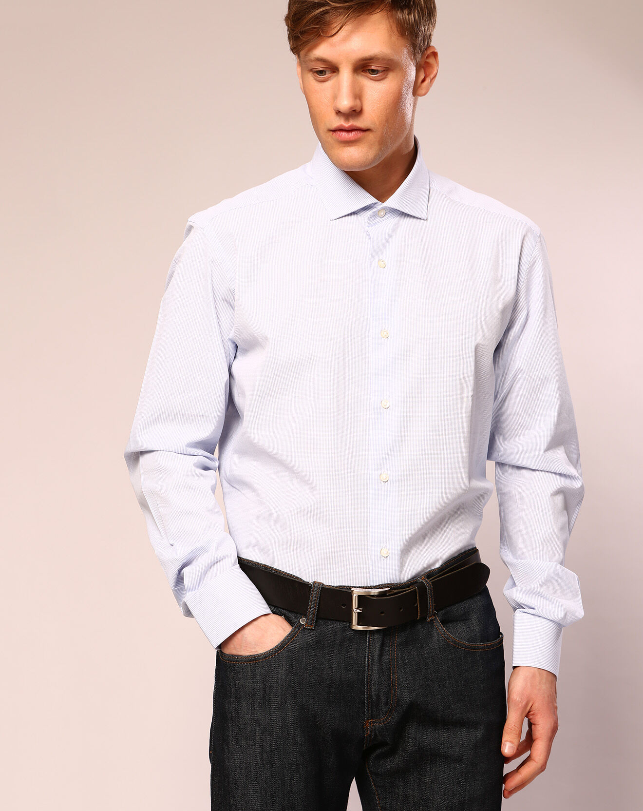 Chemise ajustée à carreaux Charles blanc/bleu