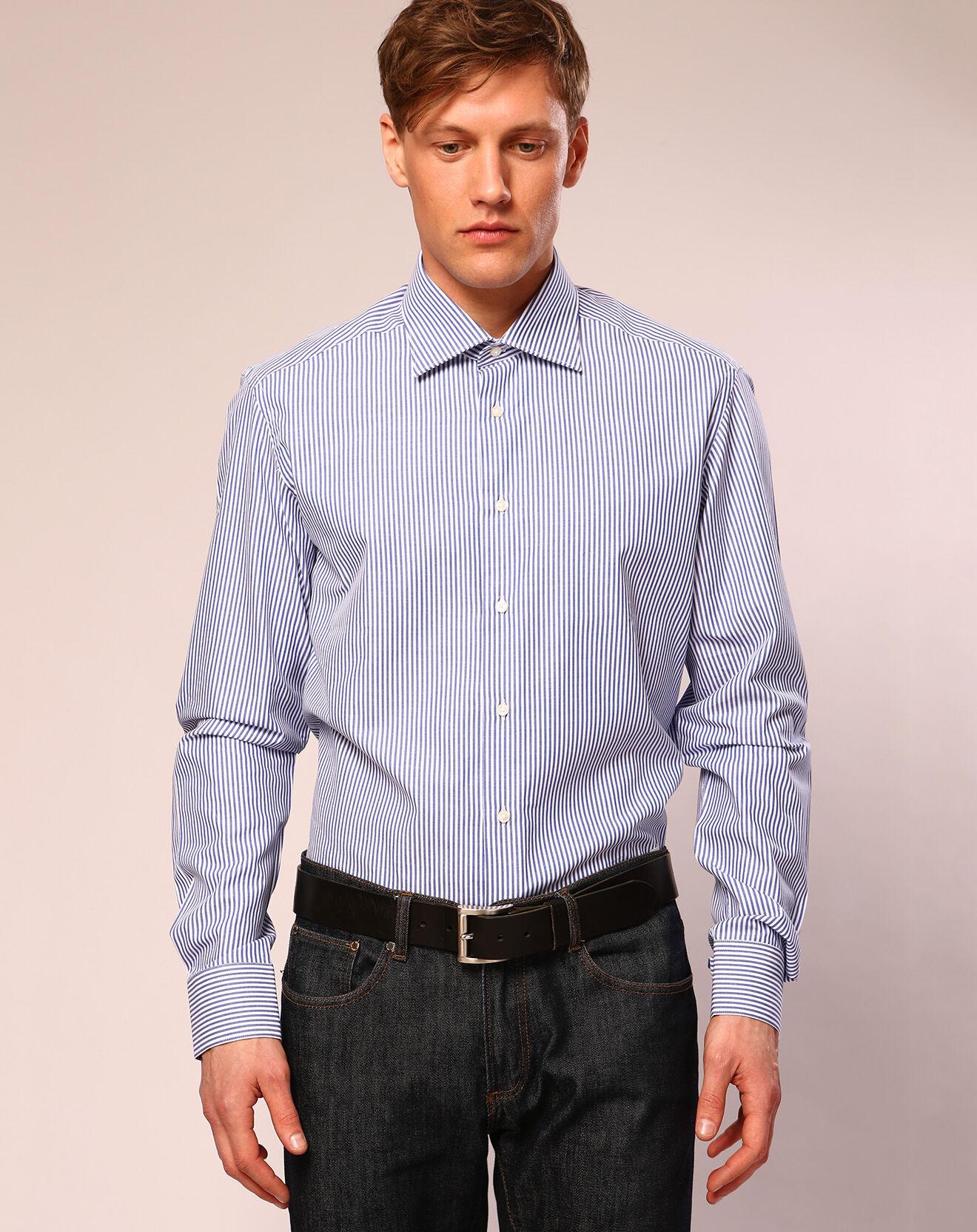 Chemise ajustée rayée Audran bleu/blanc