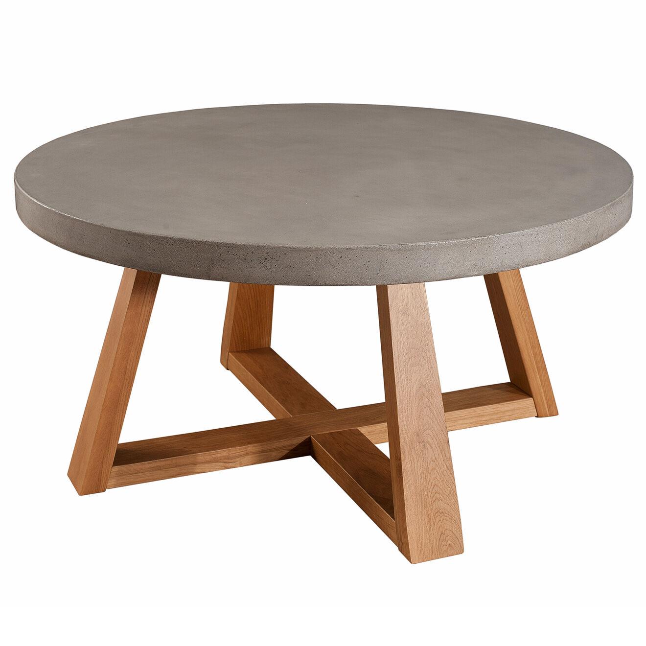 Table basse ronde Nicola Chêne clair/béton - D.91xH.47cm