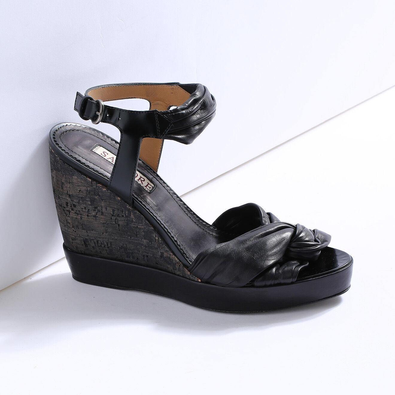 Sandales compensées en Cuir noires Talon 9.5cm