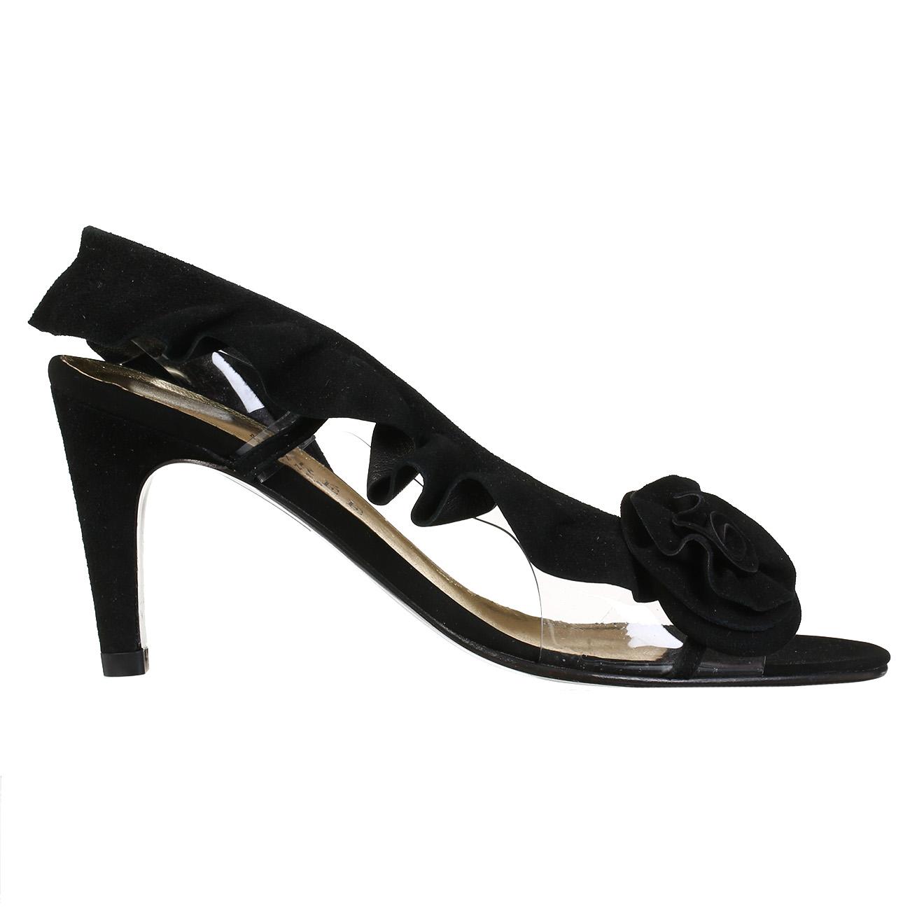 Sandales en Velours de Cuir Hortense noires - Talons 7 cm