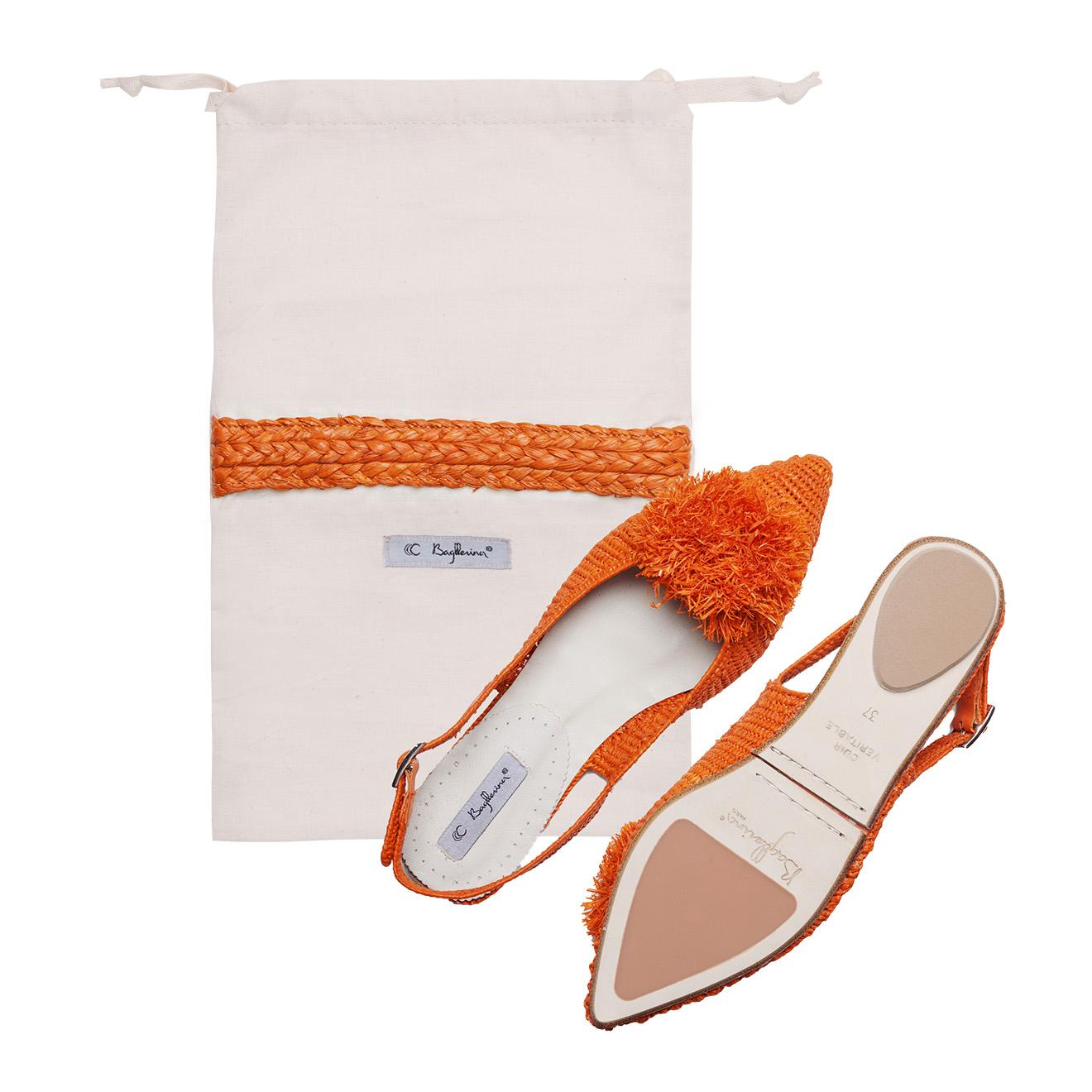 Sandales pliables Raphia Orange de Sicile