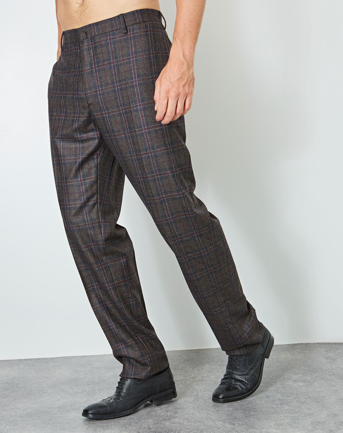 Pantalon 100% Laine bleu marine/marron - Hackett London - Modalova