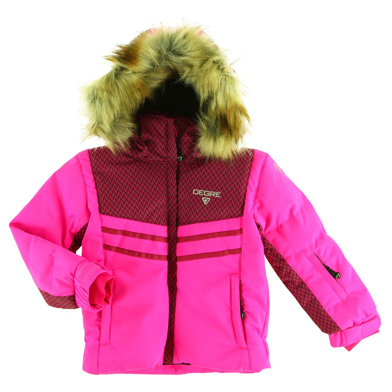 Veste de Ski Maya col fausse fourrure rose ultra