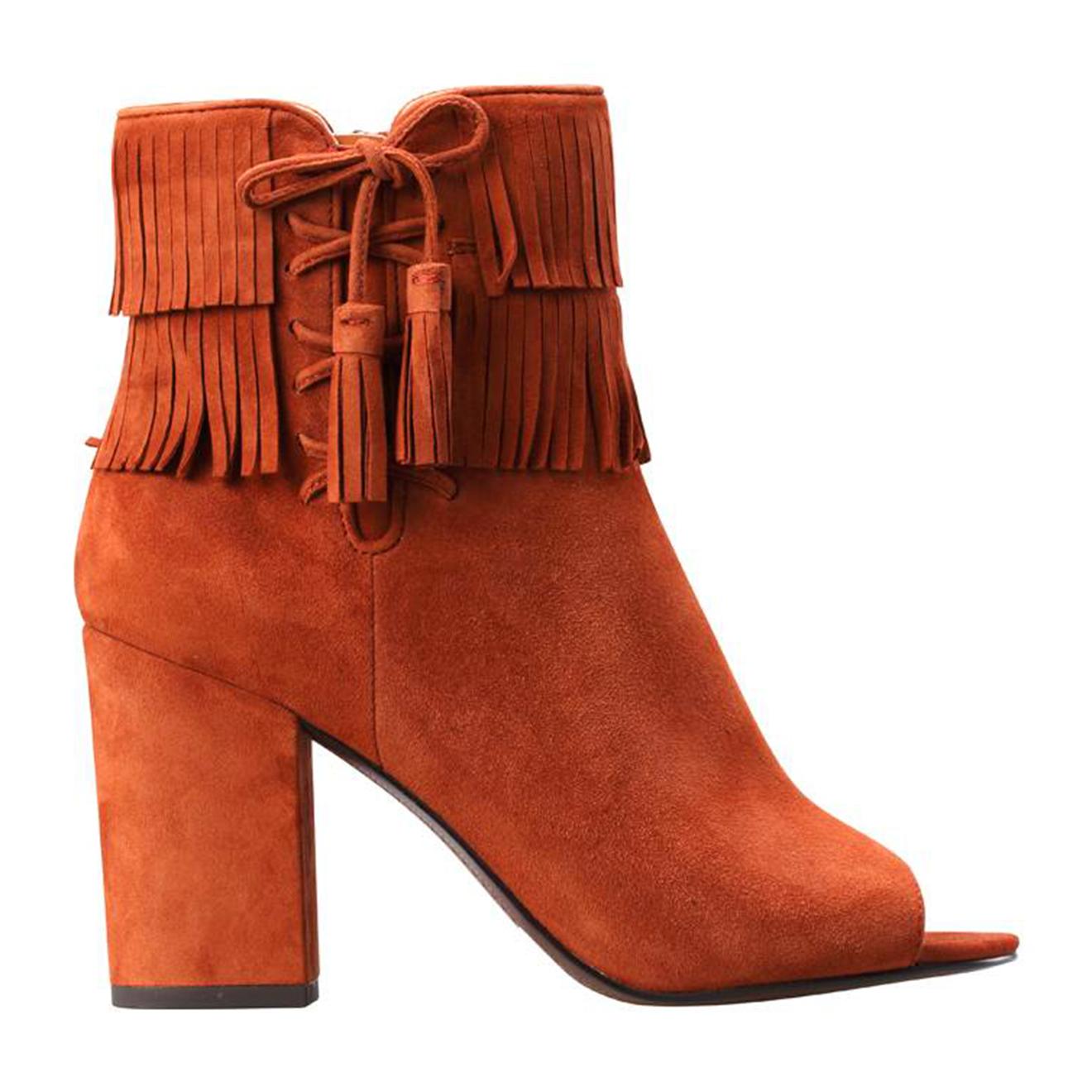 Bottines open-toe à frange en velours de Cuir camel Talon 8.5 cm - What For - Modalova