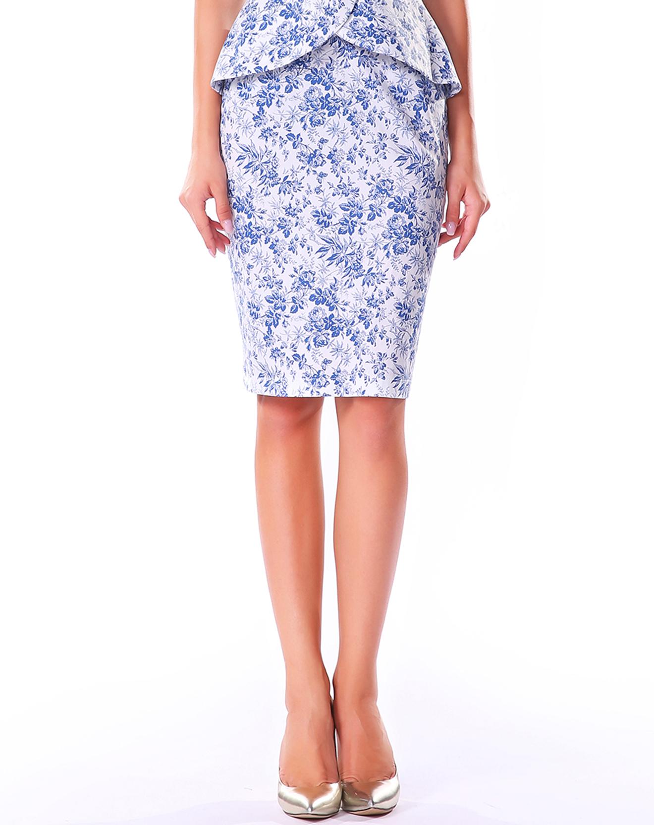 Jupe fourreau bleu floral - Isabel garcia - Modalova