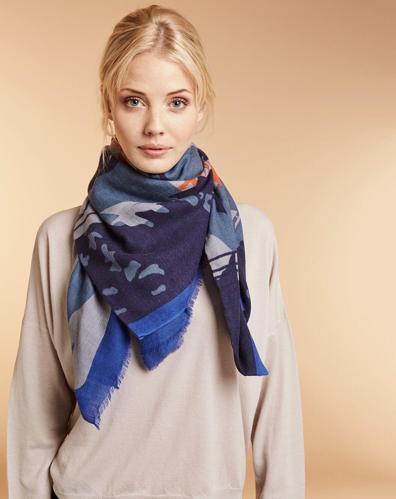 Etole 100% Laine Hello bleu/orange 100x200 cm
