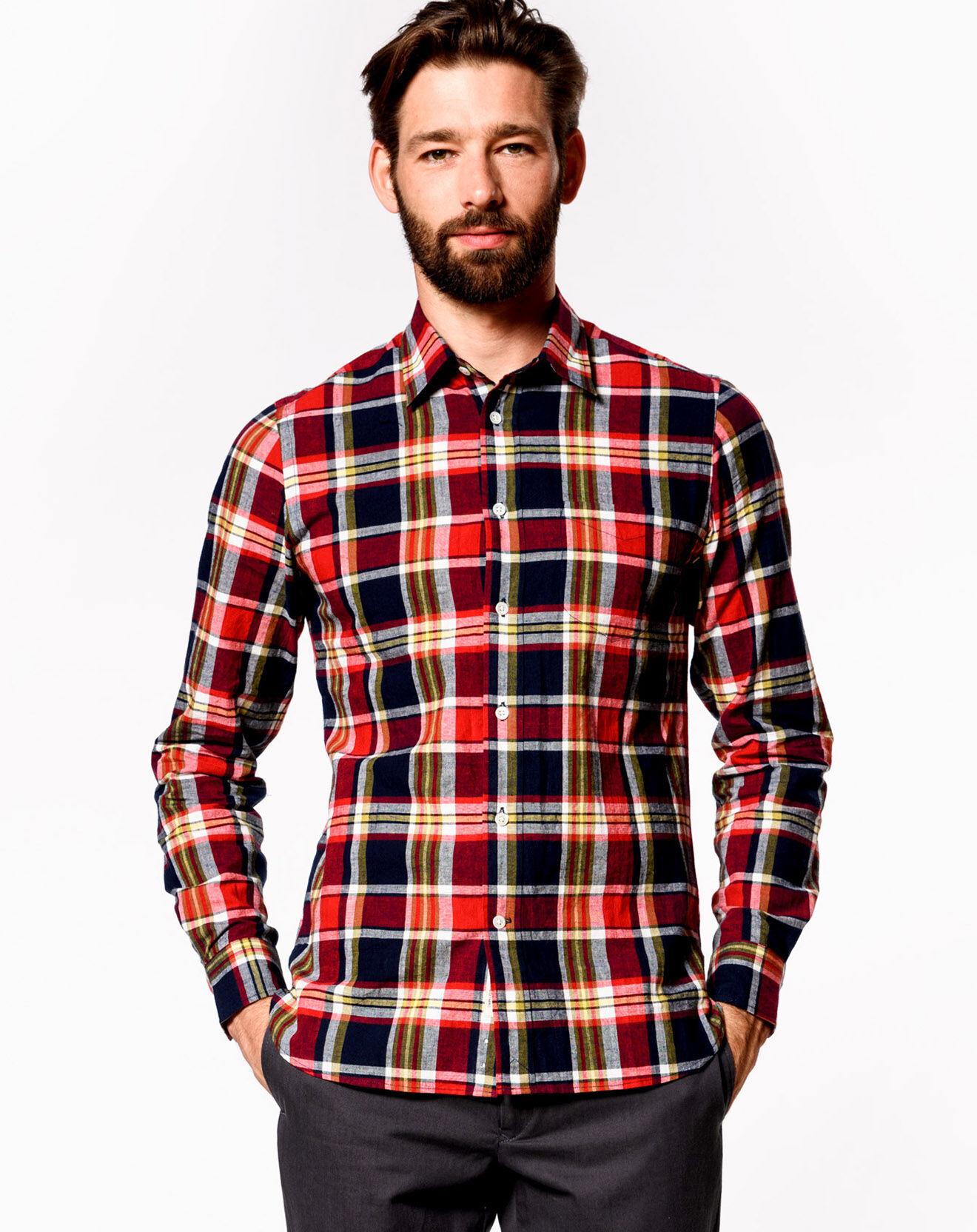 Chemise à carreaux en Coton & Lin Glenh rouge/noir