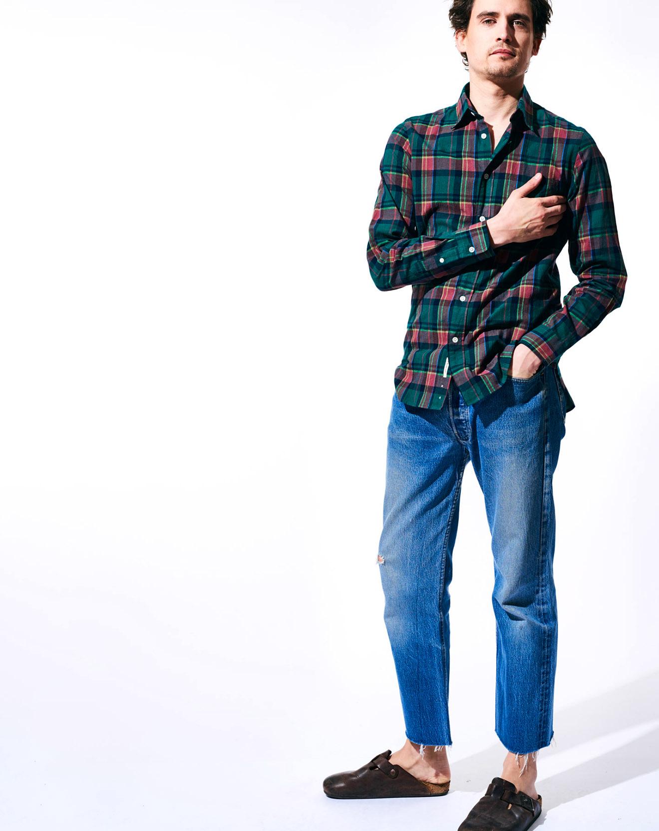 Chemise à carreaux en Coton & Lin Glenh vert/rouge