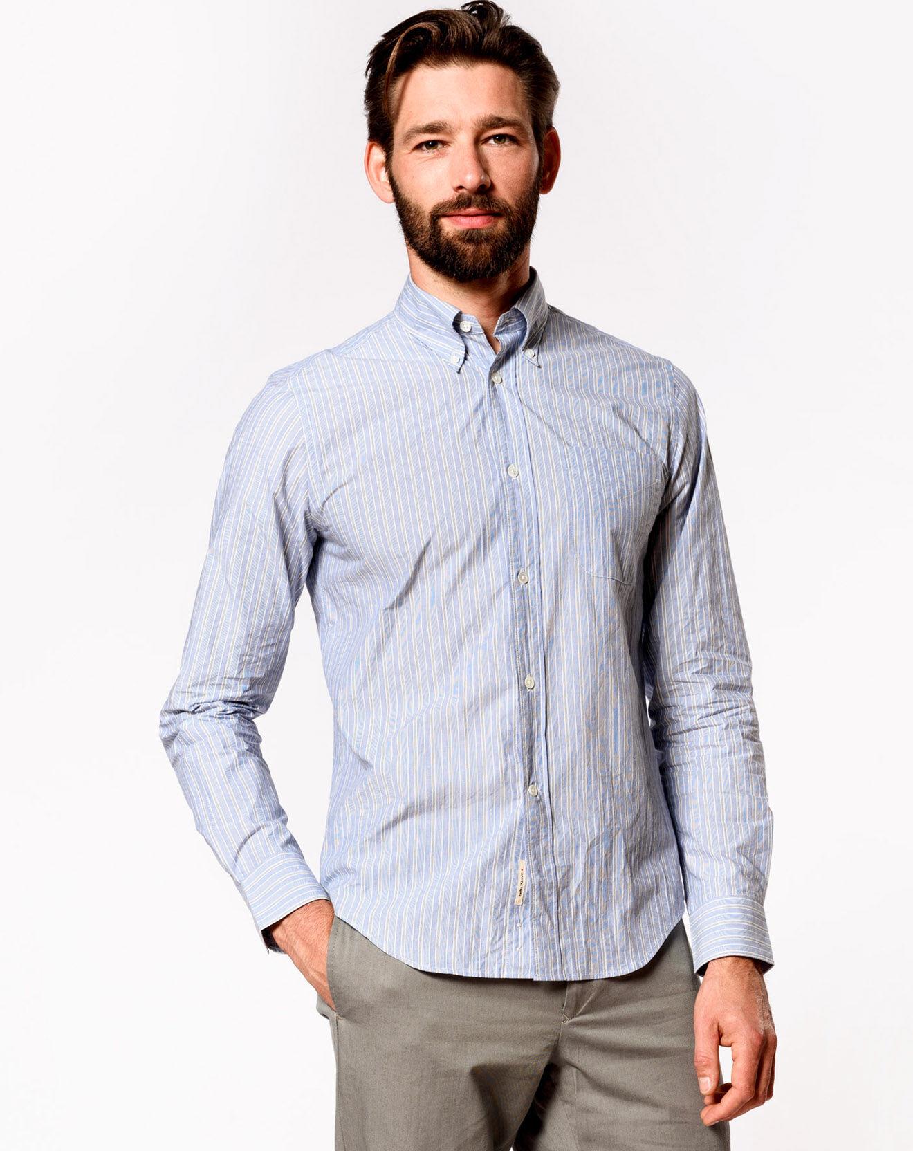 Chemise à rayures fines Goat bleu clair